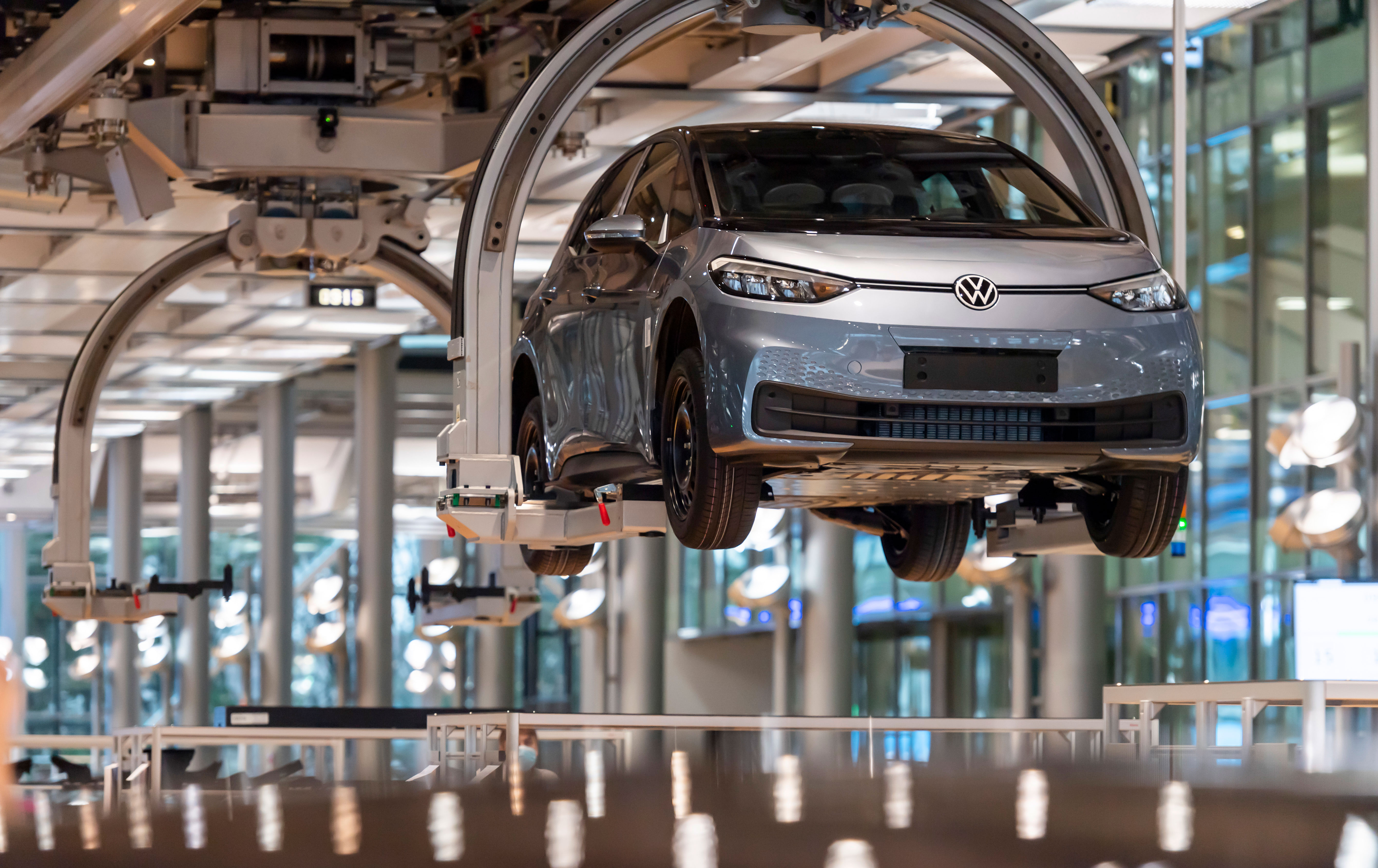 A Volkswagen ID.3 moves along an assembly line in Dresden, Germany, on January 29.