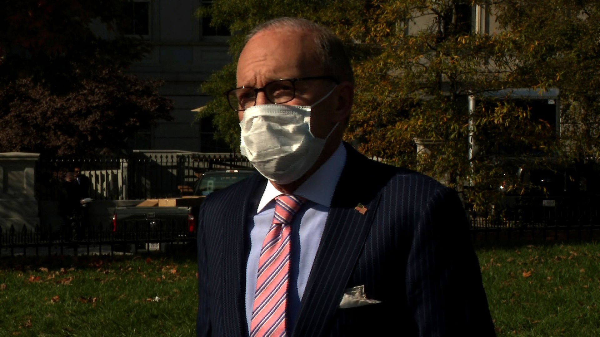 Top Trump economic adviser Larry Kudlow speaks to the press at the White House in Washington, DC, on November 6.