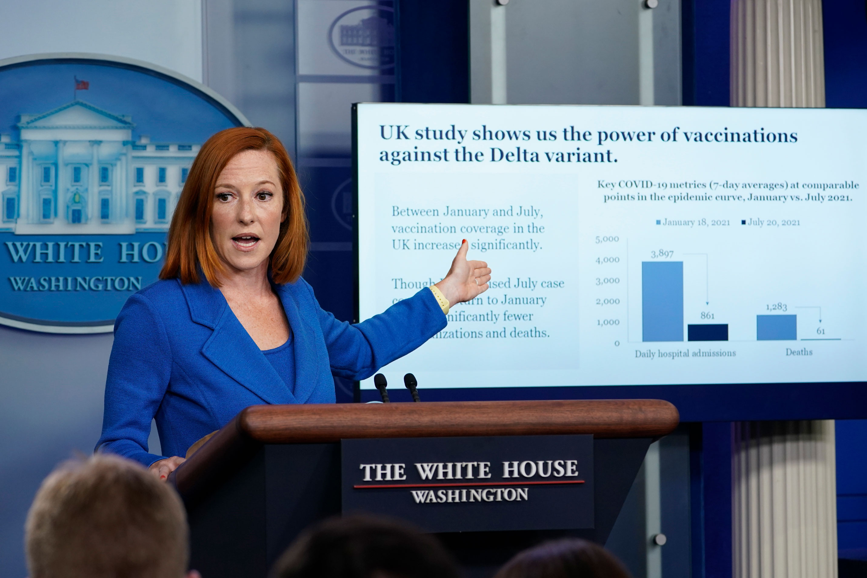 White House press secretary Jen Psaki speaks during the daily briefing at the White House, on Monday, August 2.