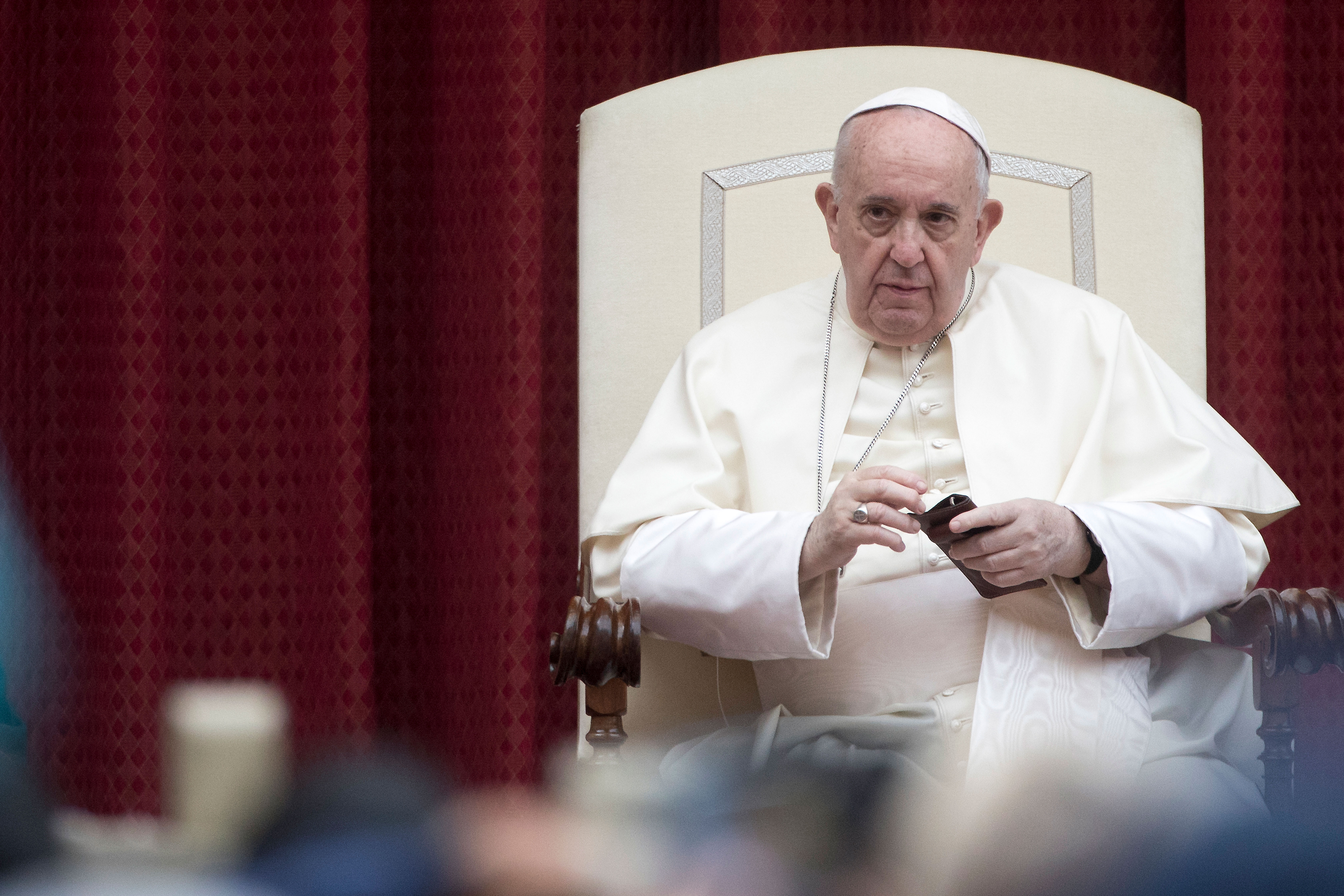 Pope Francis leads a general weekly audience in Vatican City on September 23.
