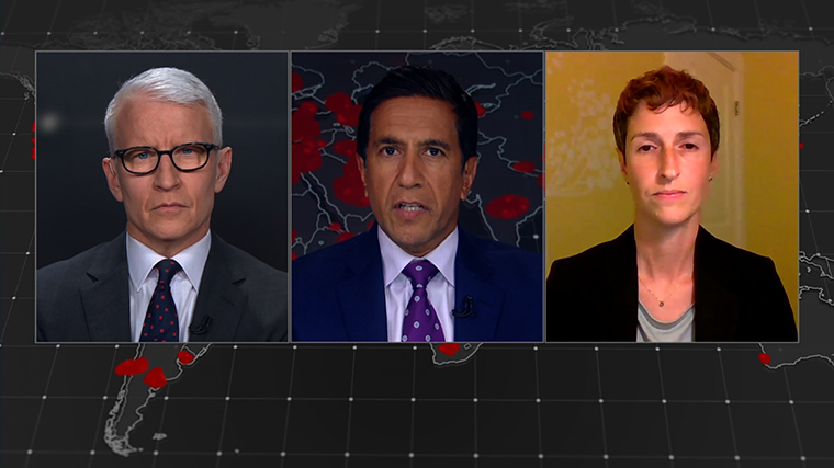 Anderson Cooper, Dr. Sanjay Gupta and infectious disease epidemiologist Julia Marcus.