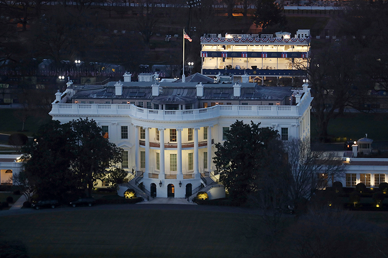 The White House is seen from the Washington Monument on Monday, January 18, in Washington, DC.