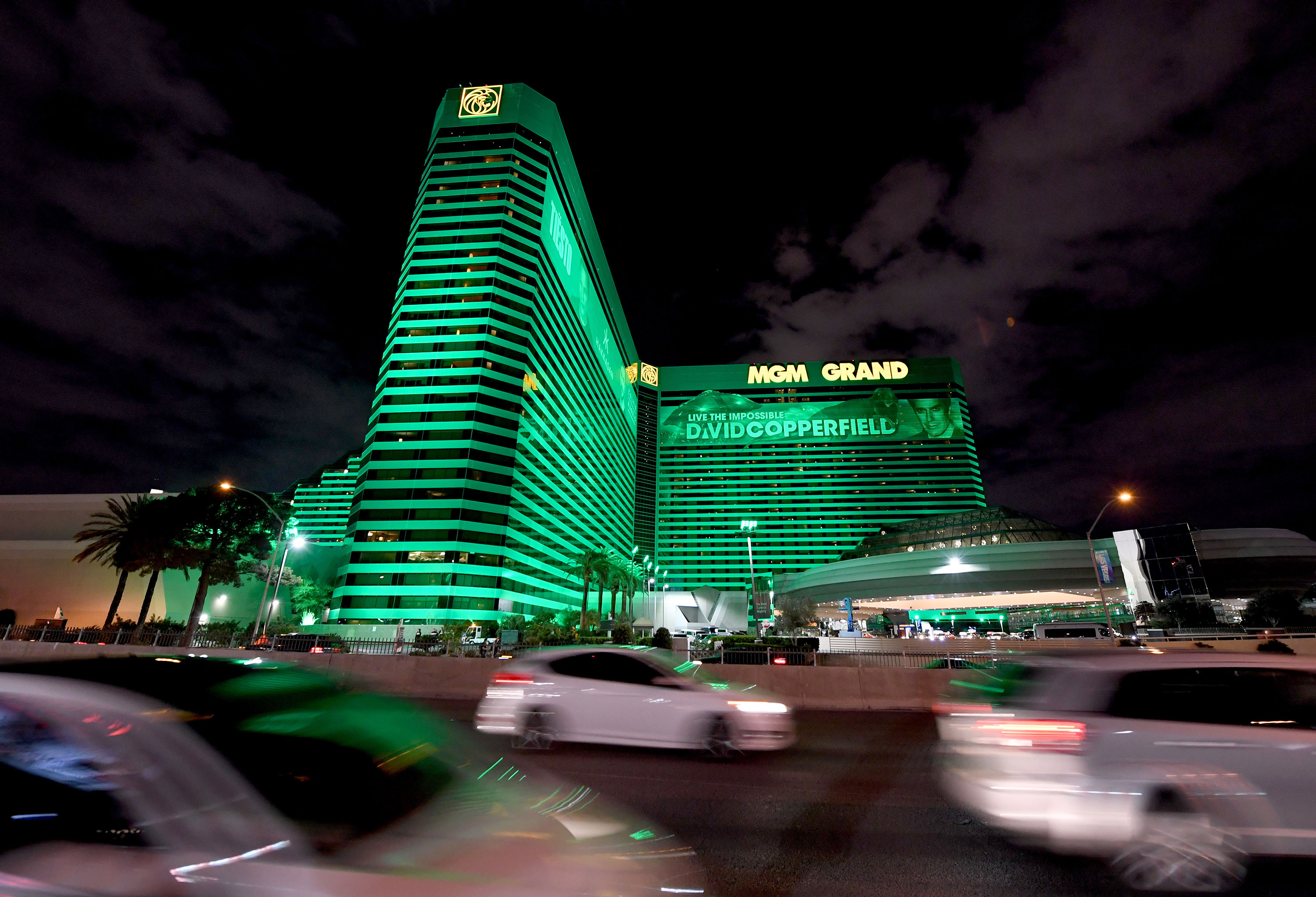 An exterior view shows MGM Grand Hotel & Casino in Las Vegas on Saturday.