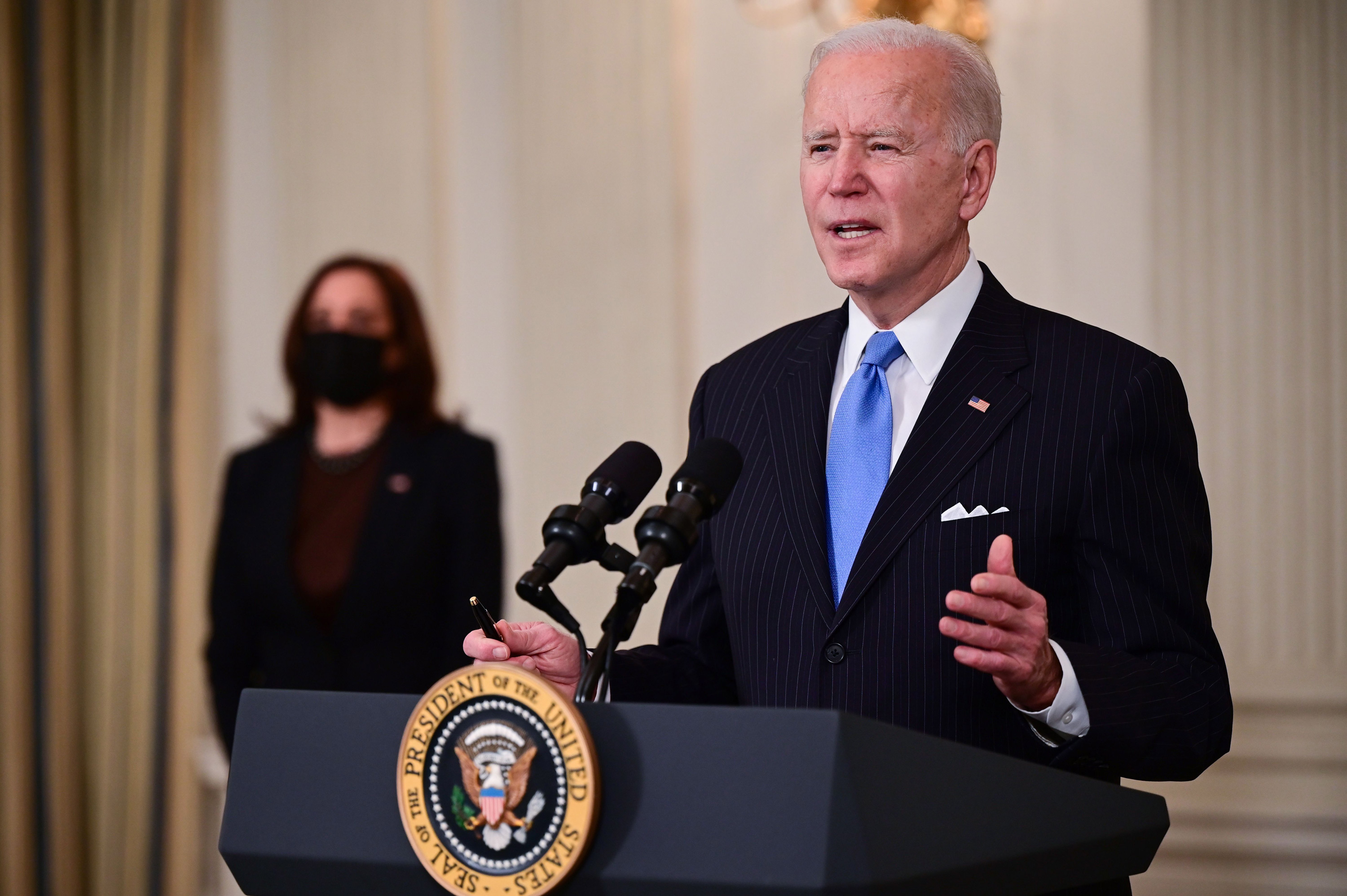 President Joe Biden delivers remarks at the White House in Washington, DC on March 2.