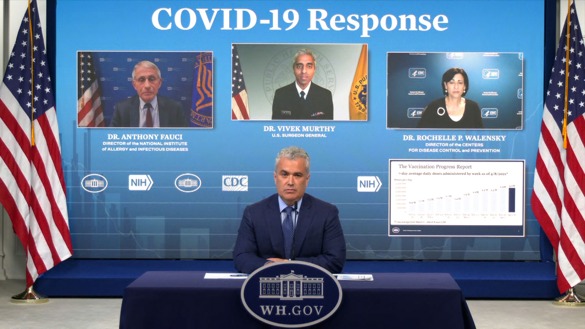 White House Covid-19 coordinator Jeff Zients, front, speaks during a briefing on April 9.