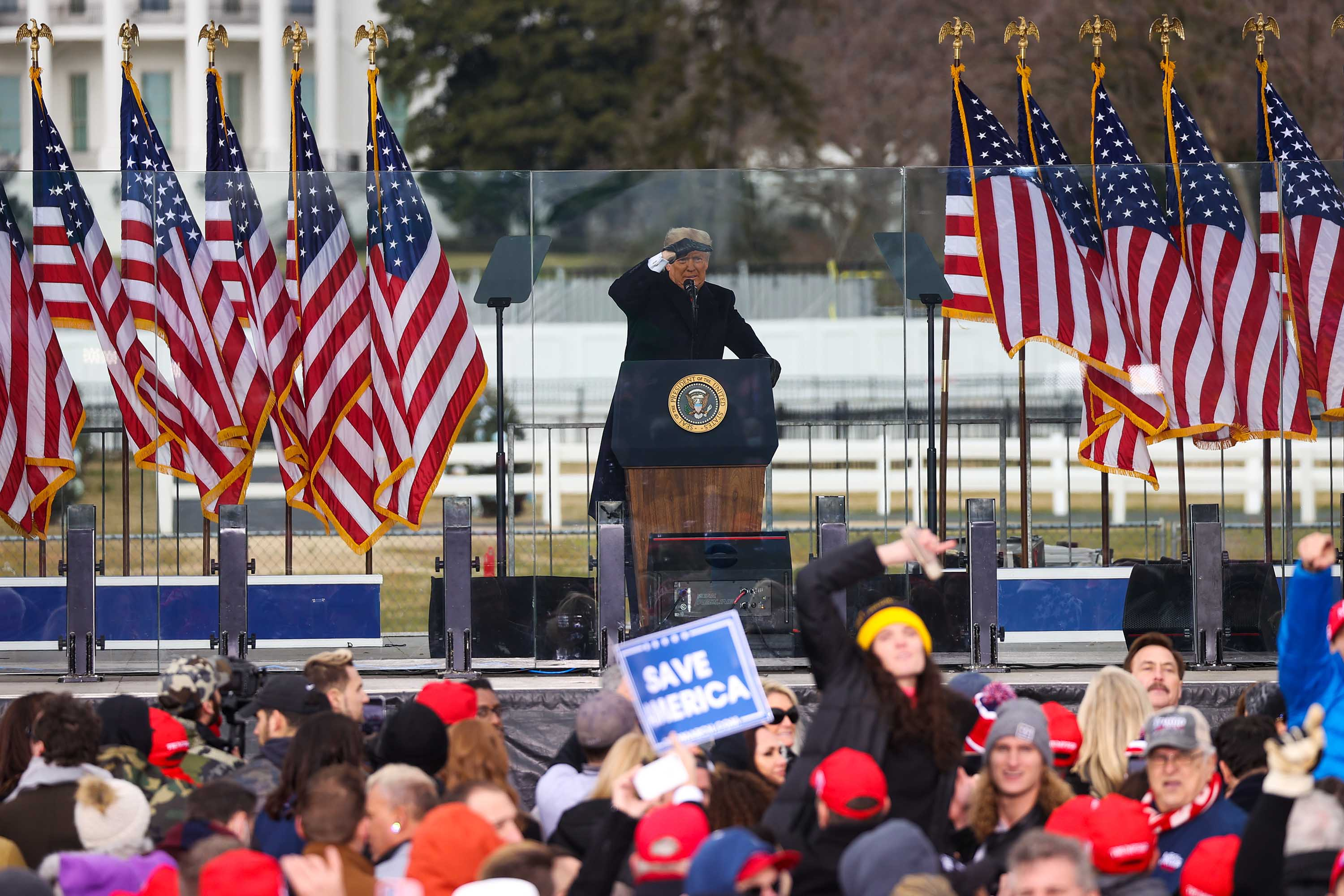 President Trump speaks to supporters at the Save America Rally in Washington D.C., on January 6.