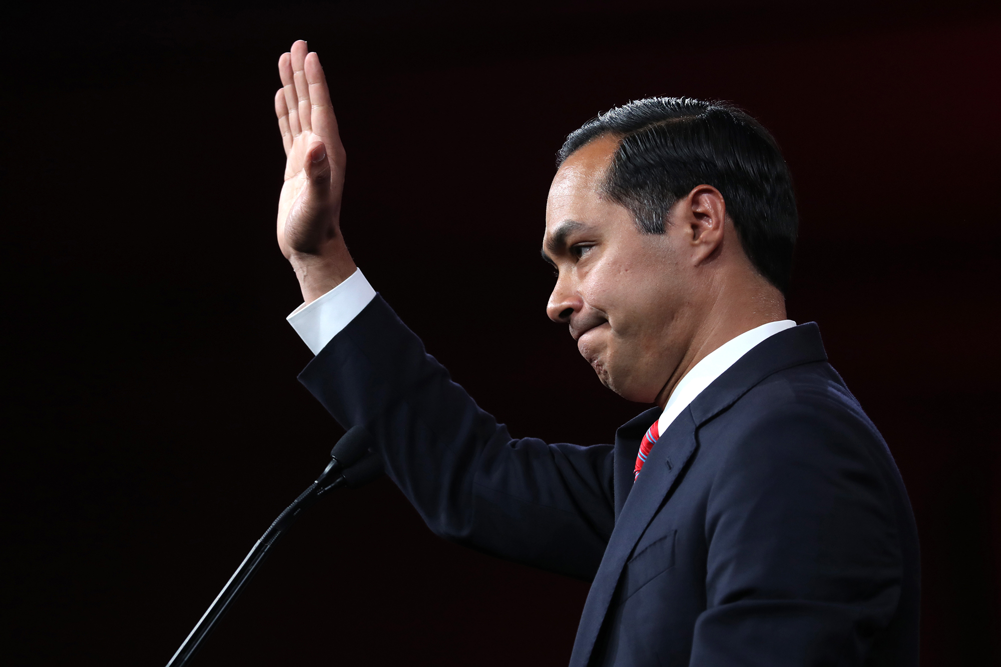Former Housing and Urban Development secretary Julian Castro speaks during the Democratic Presidential Committee summer meeting on August 23, 2019 in San Francisco.