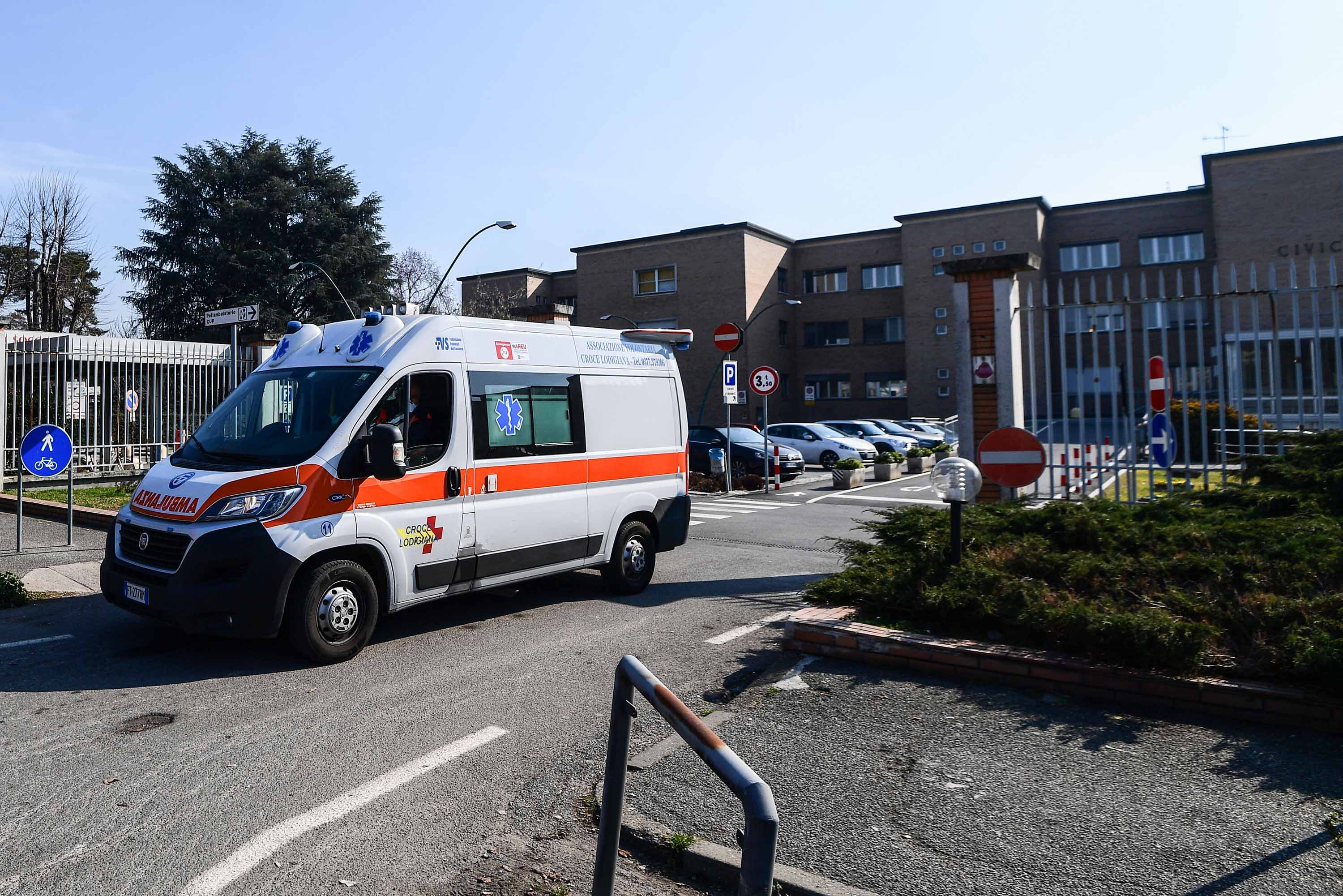 An ambulance leaves the municipal hospital in Codogno, southeast of Milan, on February 22.