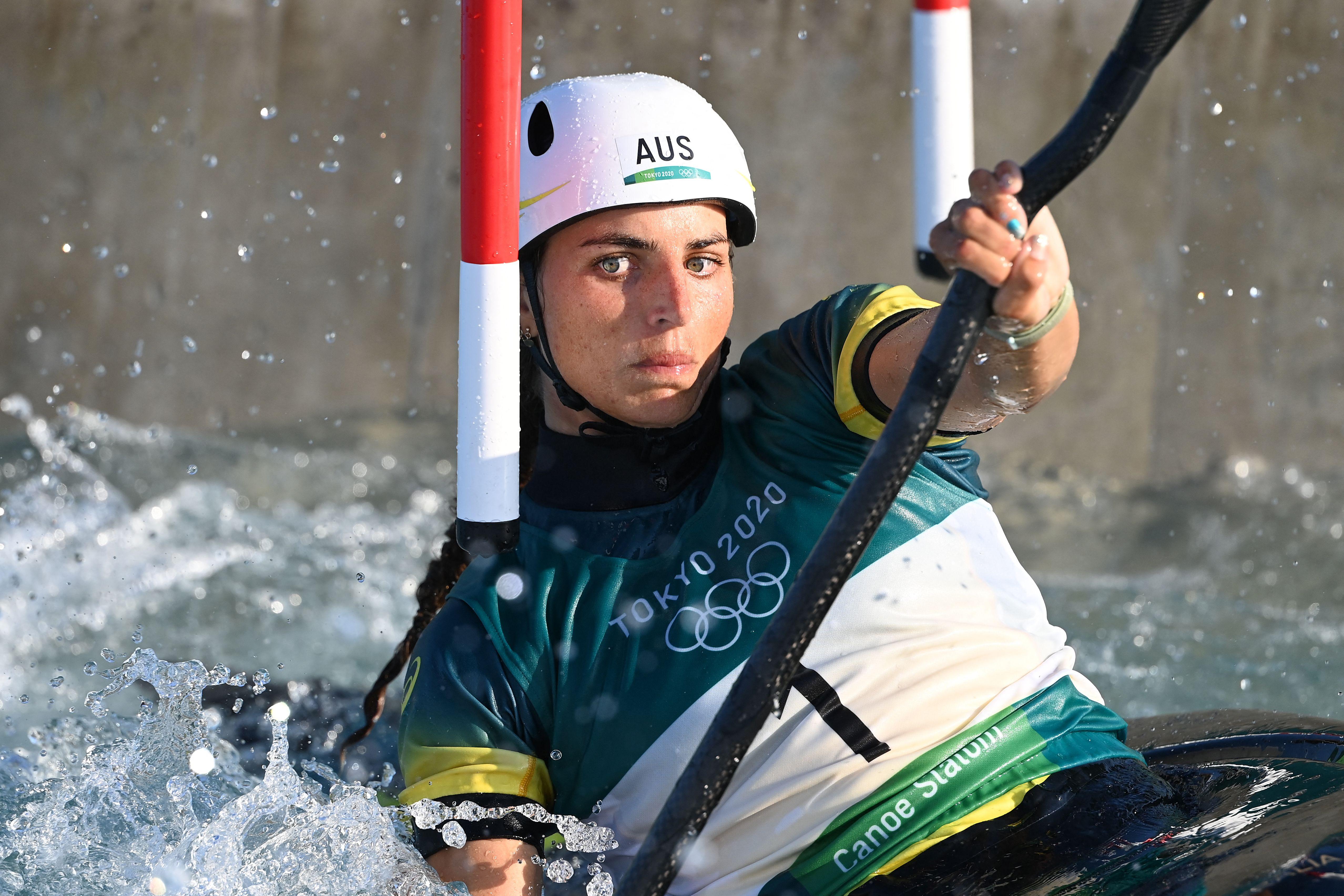 Jessica Fox competes in the women's kayak heats on Sunday.