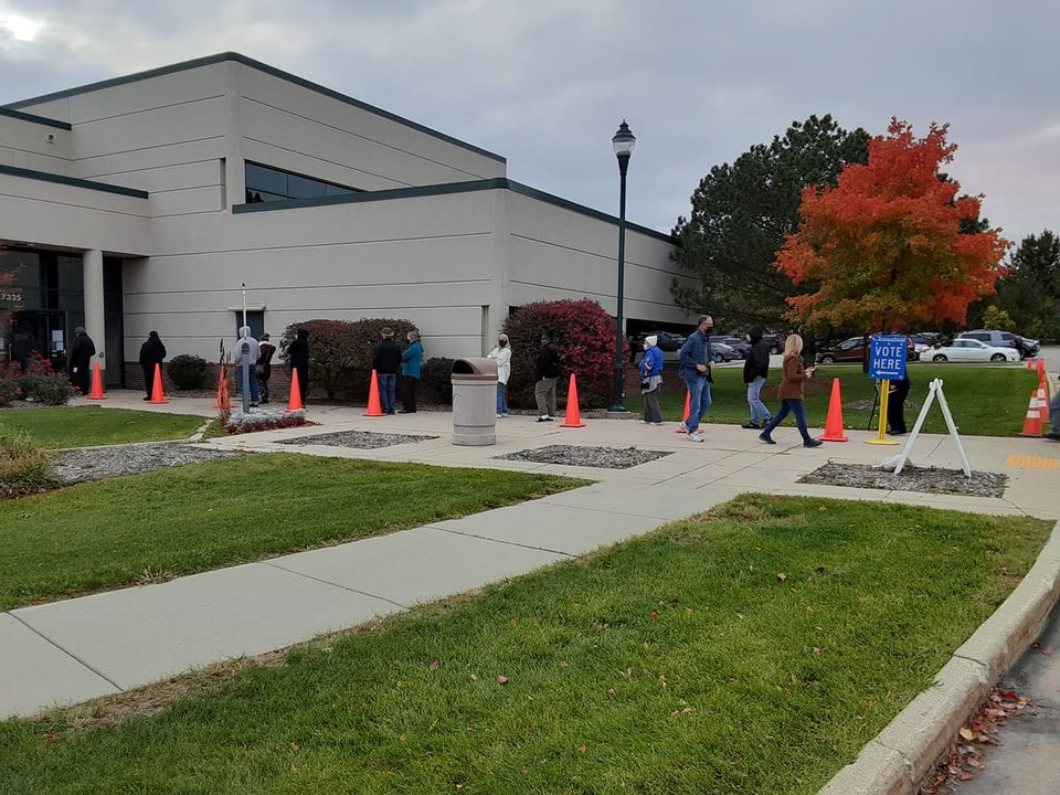 Early voting line in Greenfield, Wisconsin.