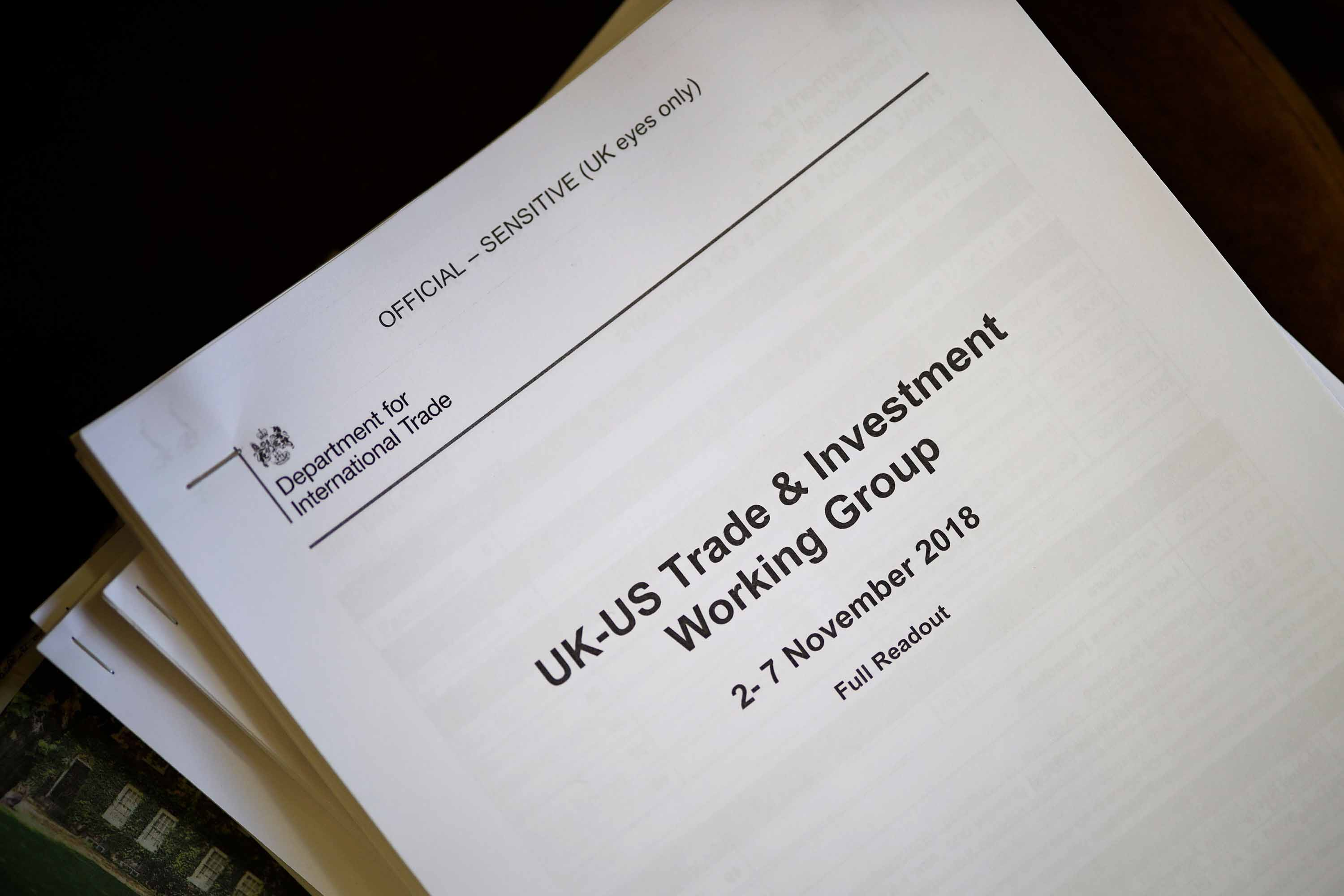 Documents concerning the Conservative government's UK-US trade talks were given to journalists during a press conference with UK opposition leader Jeremy Corbyn on November 27. Photo: Tolga Akmen/AFP via Getty Images