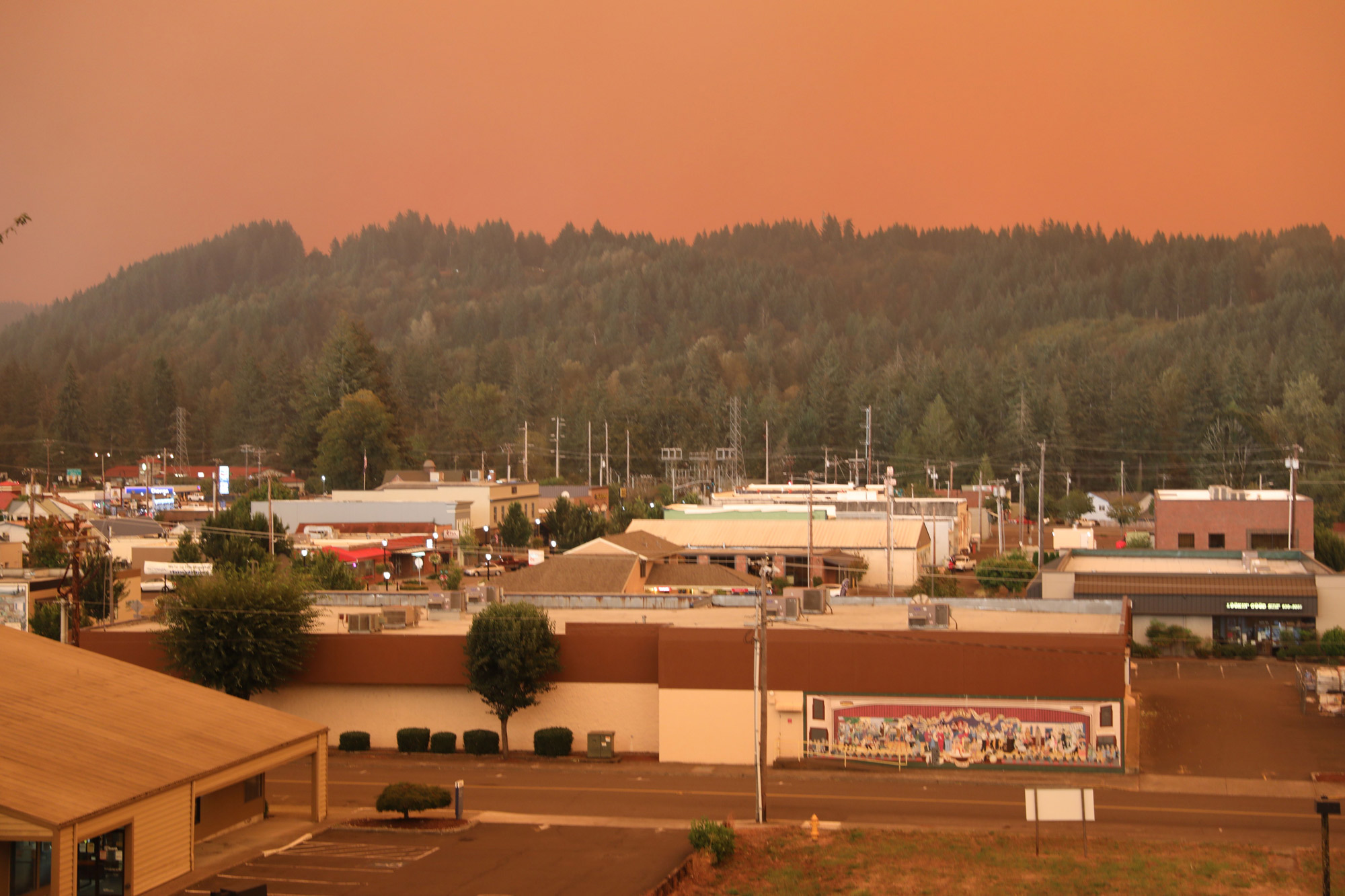 The city of Estacada, Oregon, is seen on September 9.