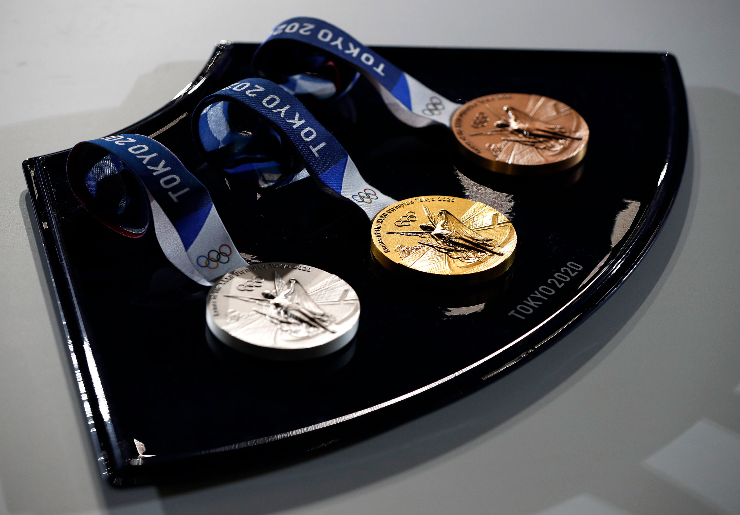 A medal tray is displayed during an unveiling event on June 3 in Tokyo.