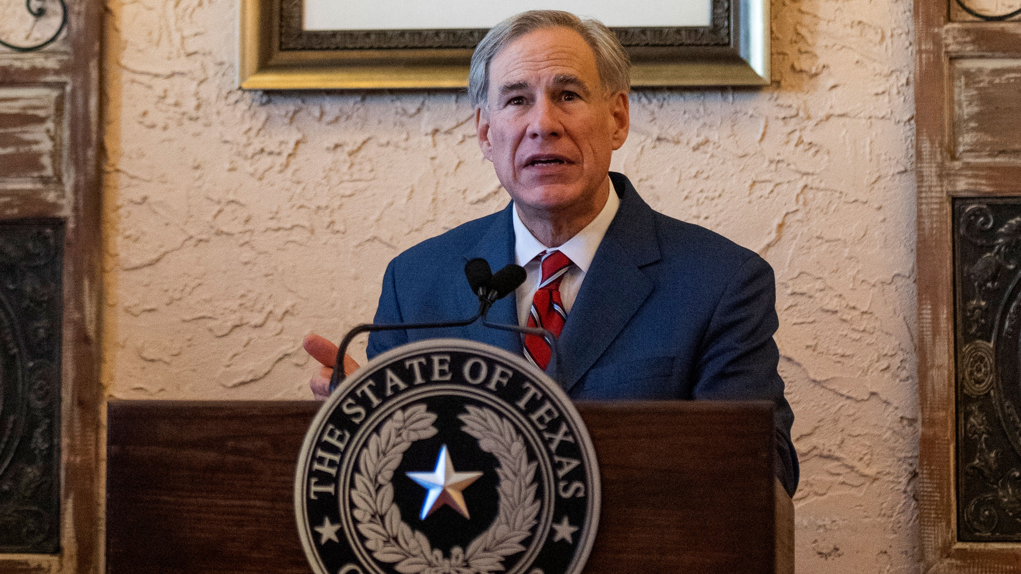Texas Gov. Greg Abbott makes an announcement in Lubbock, Texas, on March 2.