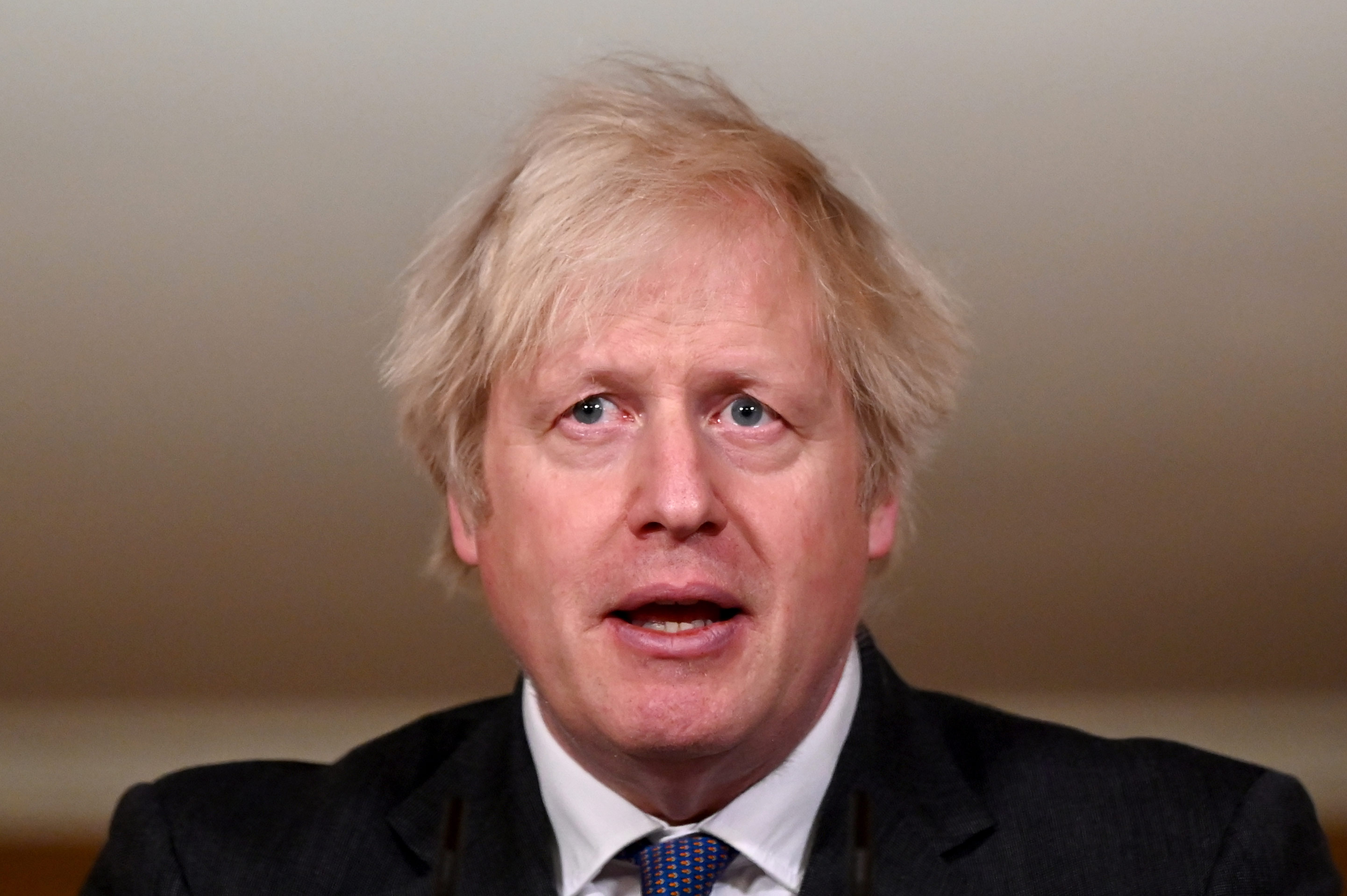 UK Prime Minister Boris Johnson speaks during a coronavirus press conference at 10 Downing Street on January 22, in London.