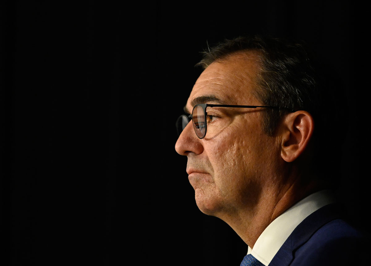 South Australian Premier Steven Marshall speaks to the media during a Covid-19 briefing at the State Administration centre on November 17 in Adelaide, Australia.
