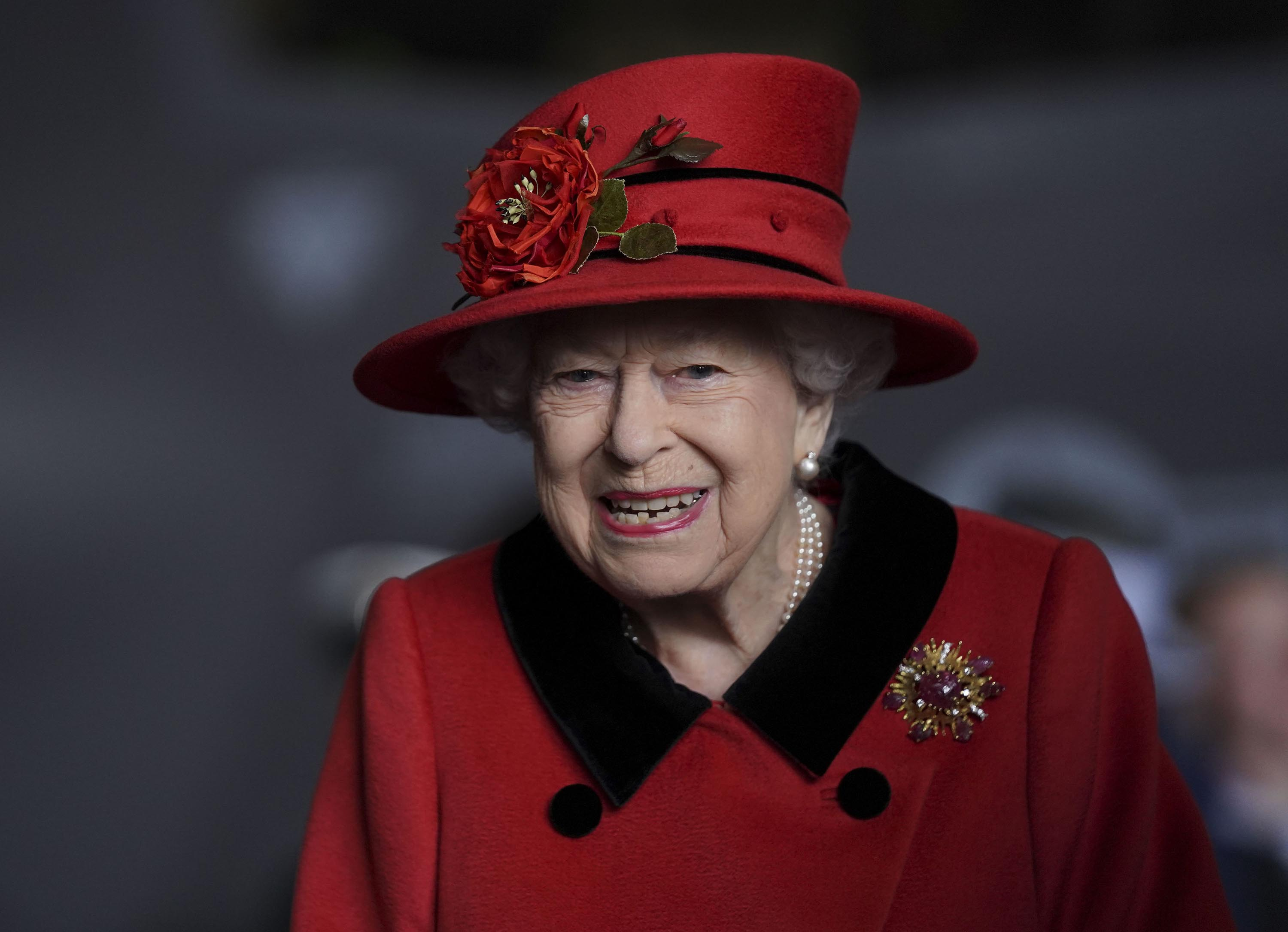 Queen Elizabeth II is seen during a visit to HMS Queen Elizabeth in Portsmouth, England, on May 22.