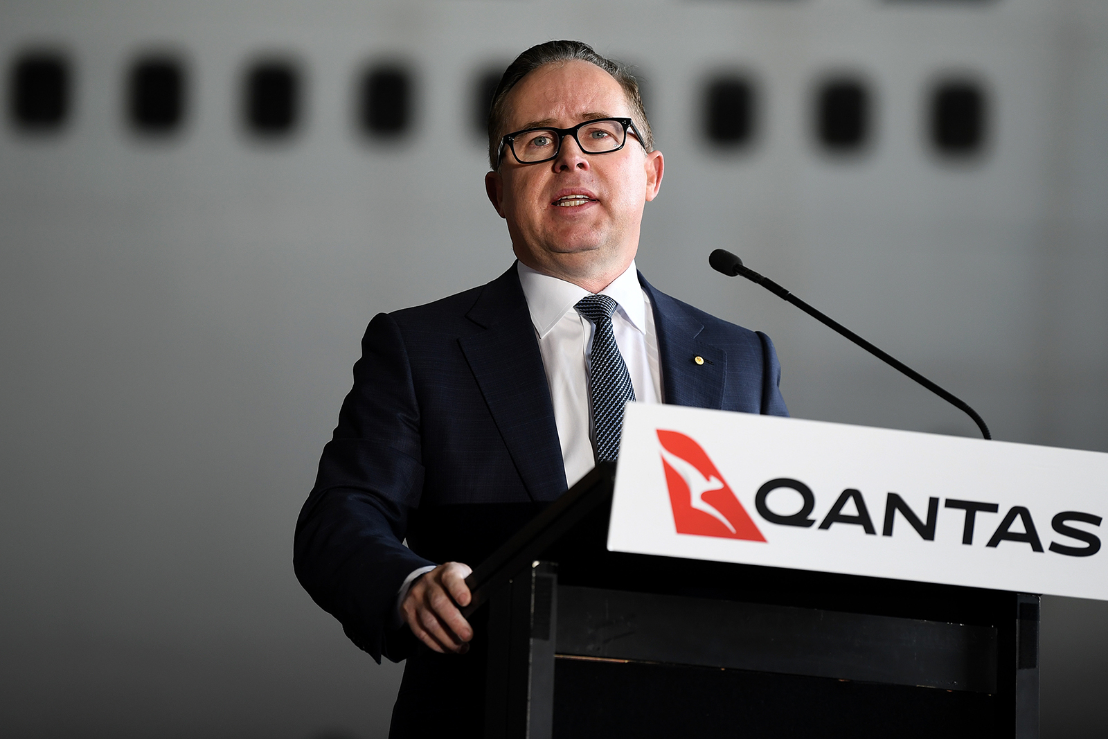 Qantas CEO Alan Joyce speaks during an official farewell event for the Qantas 747 fleet at Sydney Airport in Sydney, on July 22.