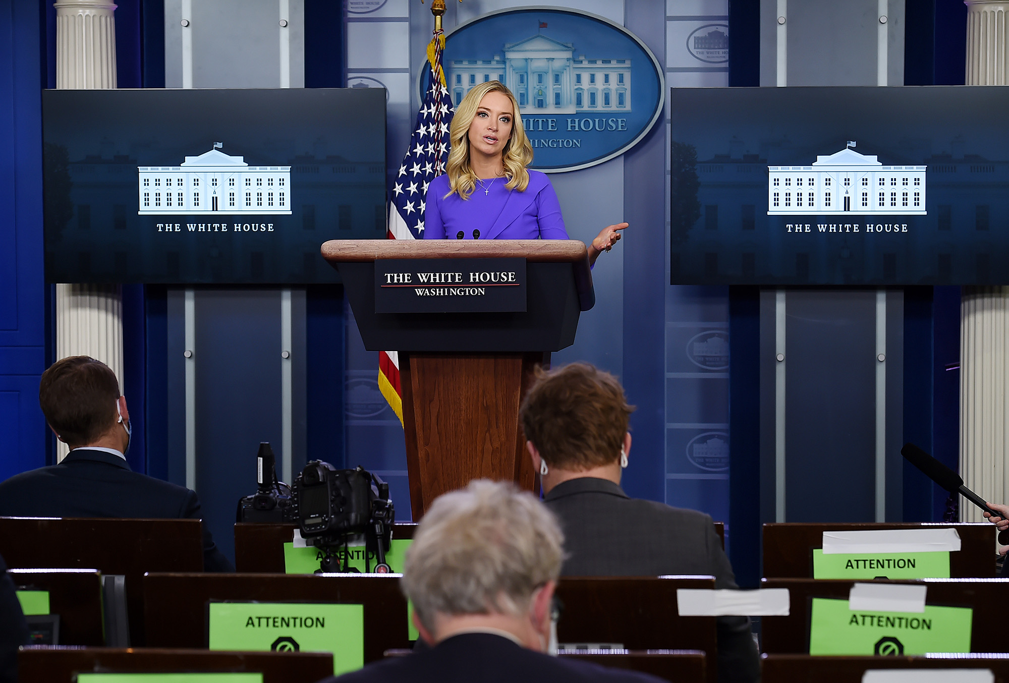 White House Press Secretary Kayleigh McEnany speaks during a press briefing on December 15, at the White House in Washington, DC.