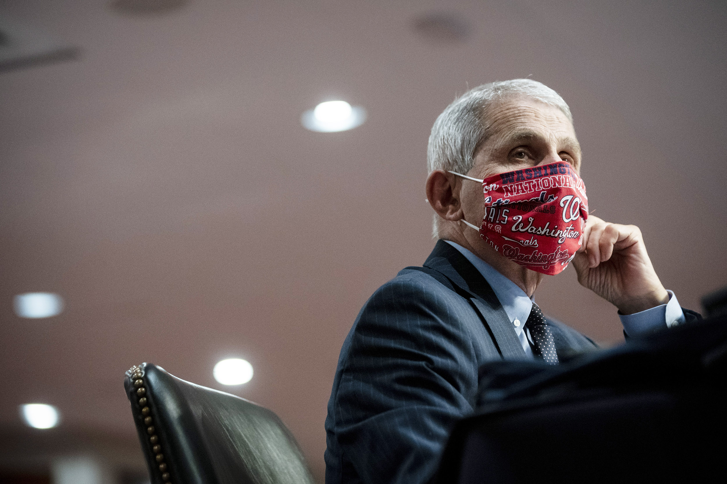 Anthony Fauci, director of the National Institute of Allergy and Infectious Diseases, wears a protective mask on June 30.