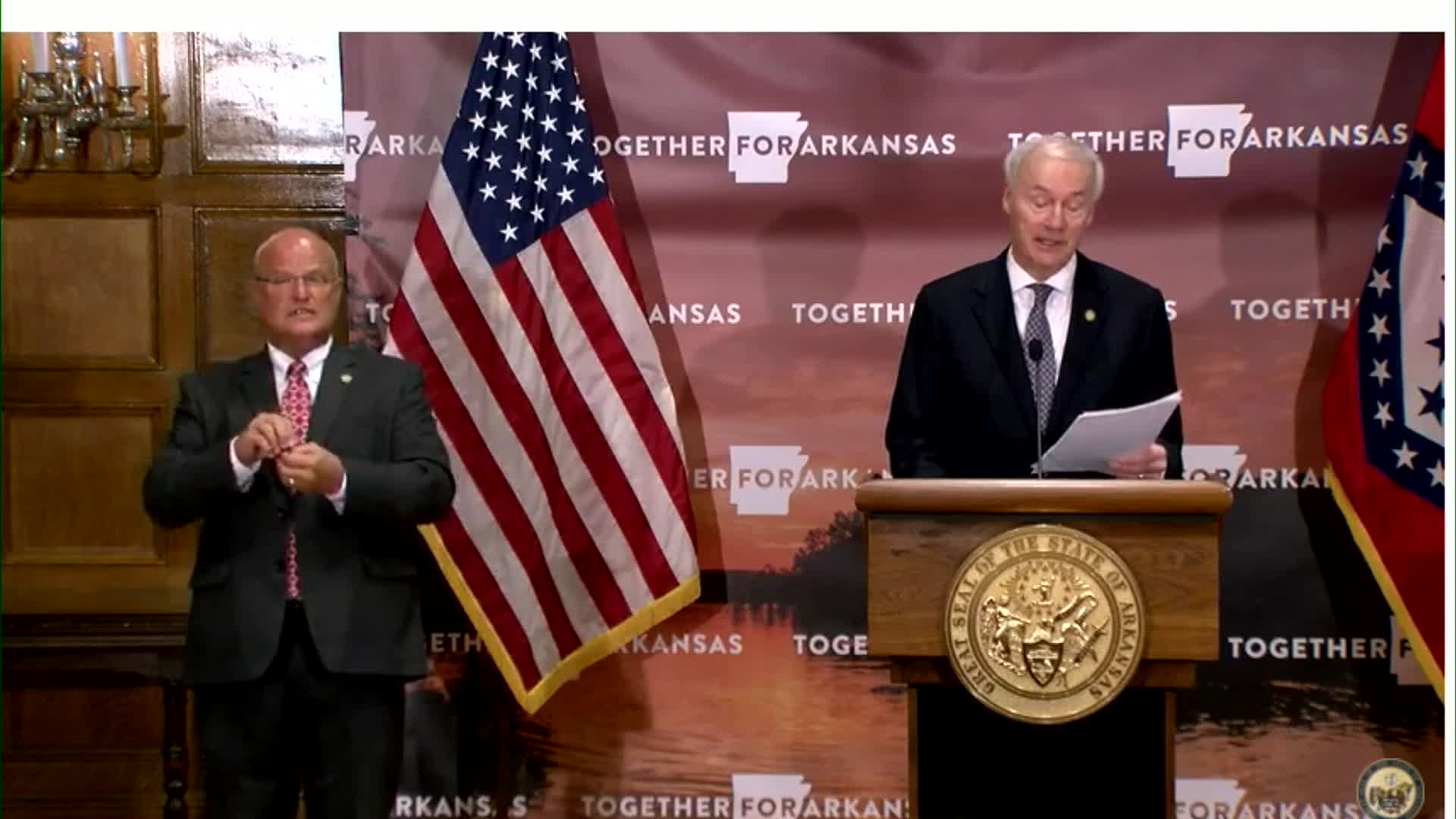 Arkansas Gov. Asa Hutchinson speaks during a press conference in Little Rock, Arkansas, on July 31.