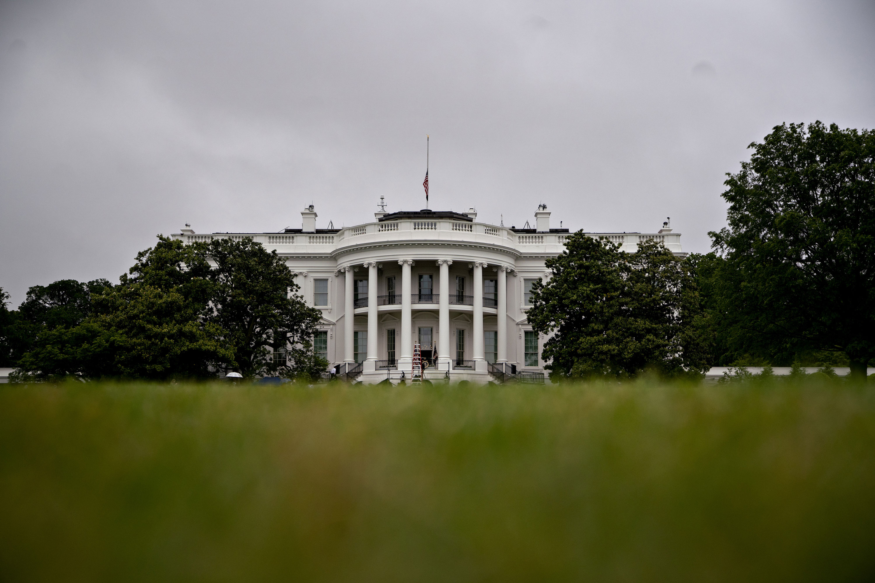 The White House stands past the South Lawn in Washington, D.C., on May 22.
