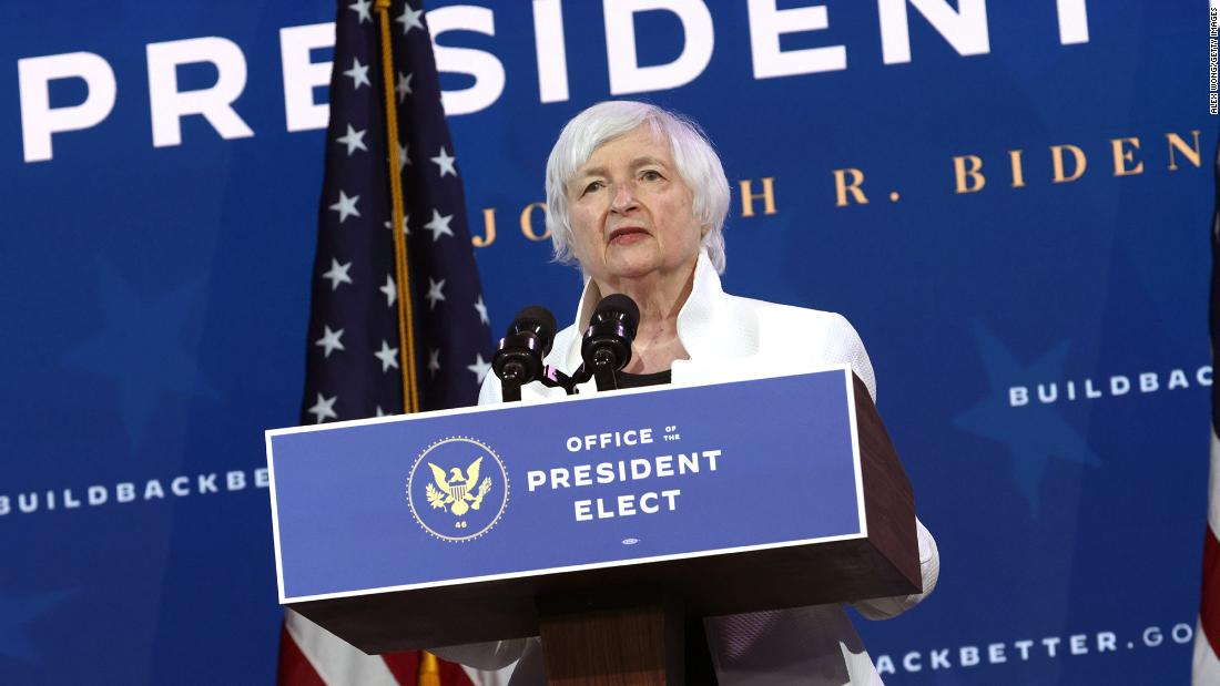 Secretary of the Treasury nominee Janet Yellen speaks during an event to name President-elect Joe Biden's economic team at the Queen Theater on December 1, 2020 in Wilmington, Delaware.