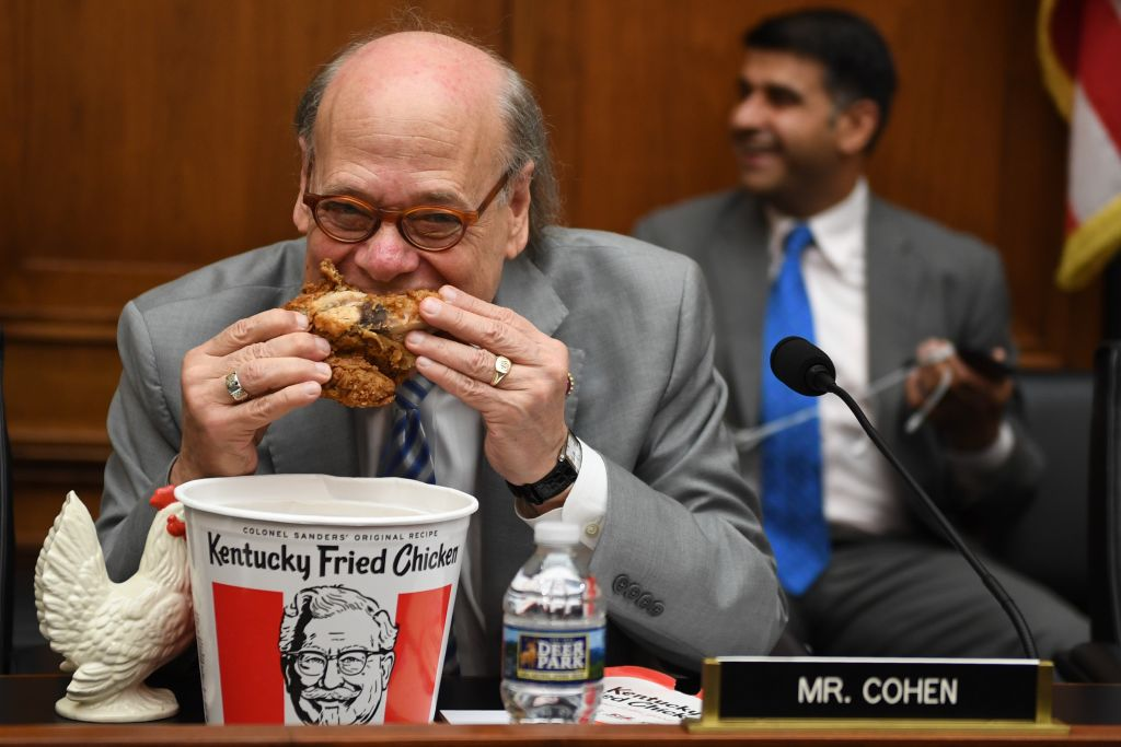Congressman Steve Cohen, Democrat of Tennessee, eats chicken as during a hearing before the House Judiciary Committee on Capitol Hill in Washington, DC, on May 2, 2019.