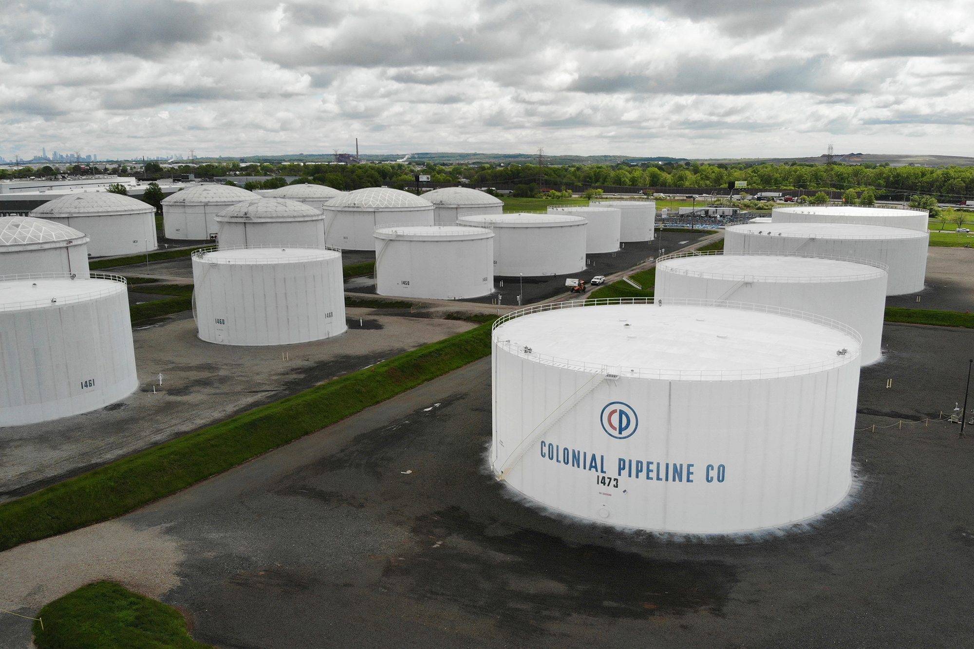 Colonial Pipeline storage tanks are seen in Woodbridge, New Jersey, on Monday, May 10.