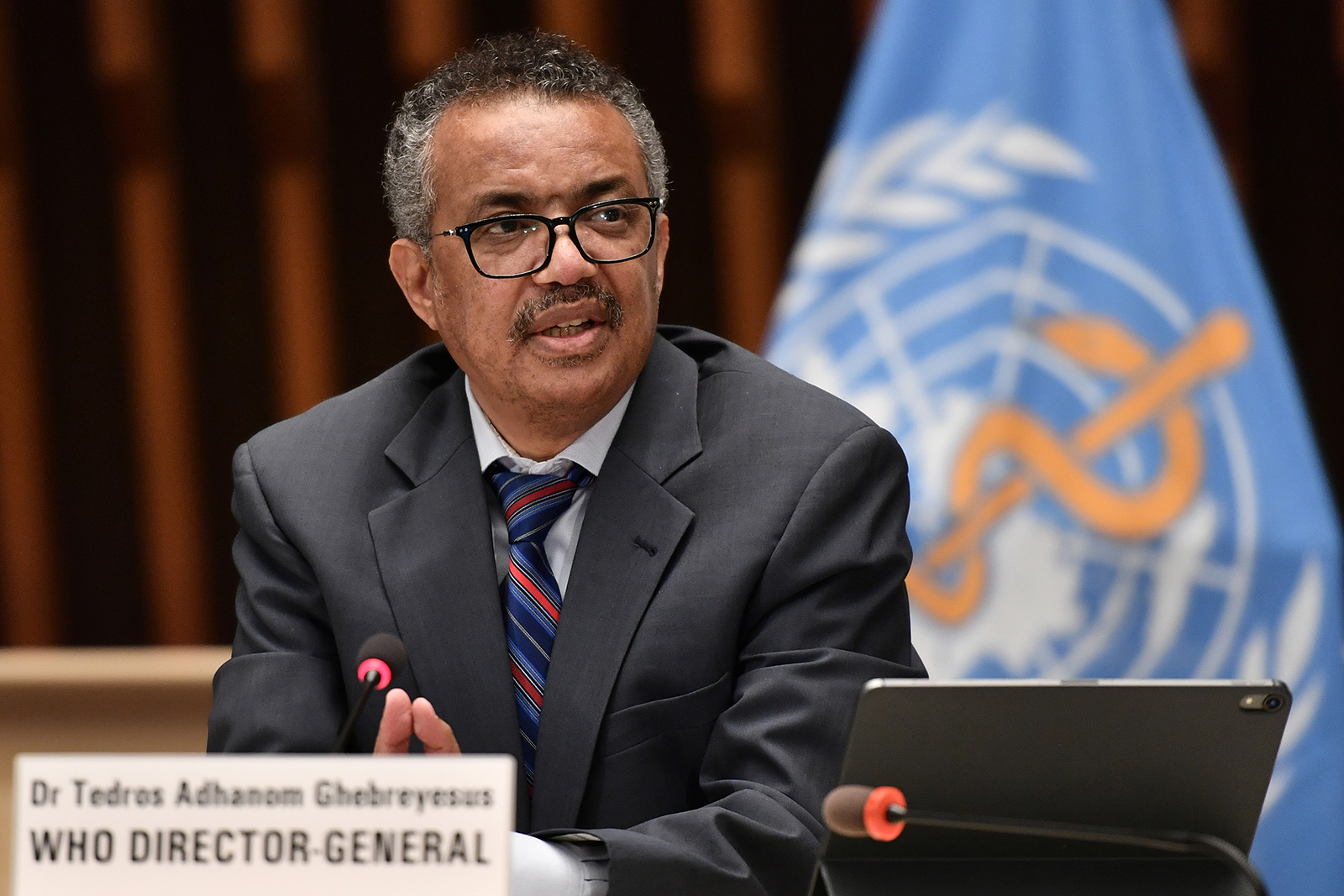 WHO Director-General Dr. Tedros Adhanom Ghebreyesus attends a news conference organized by the Geneva Association of United Nations Correspondents amid the Covid-19 pandemic on July 3, 2020 in Geneva.