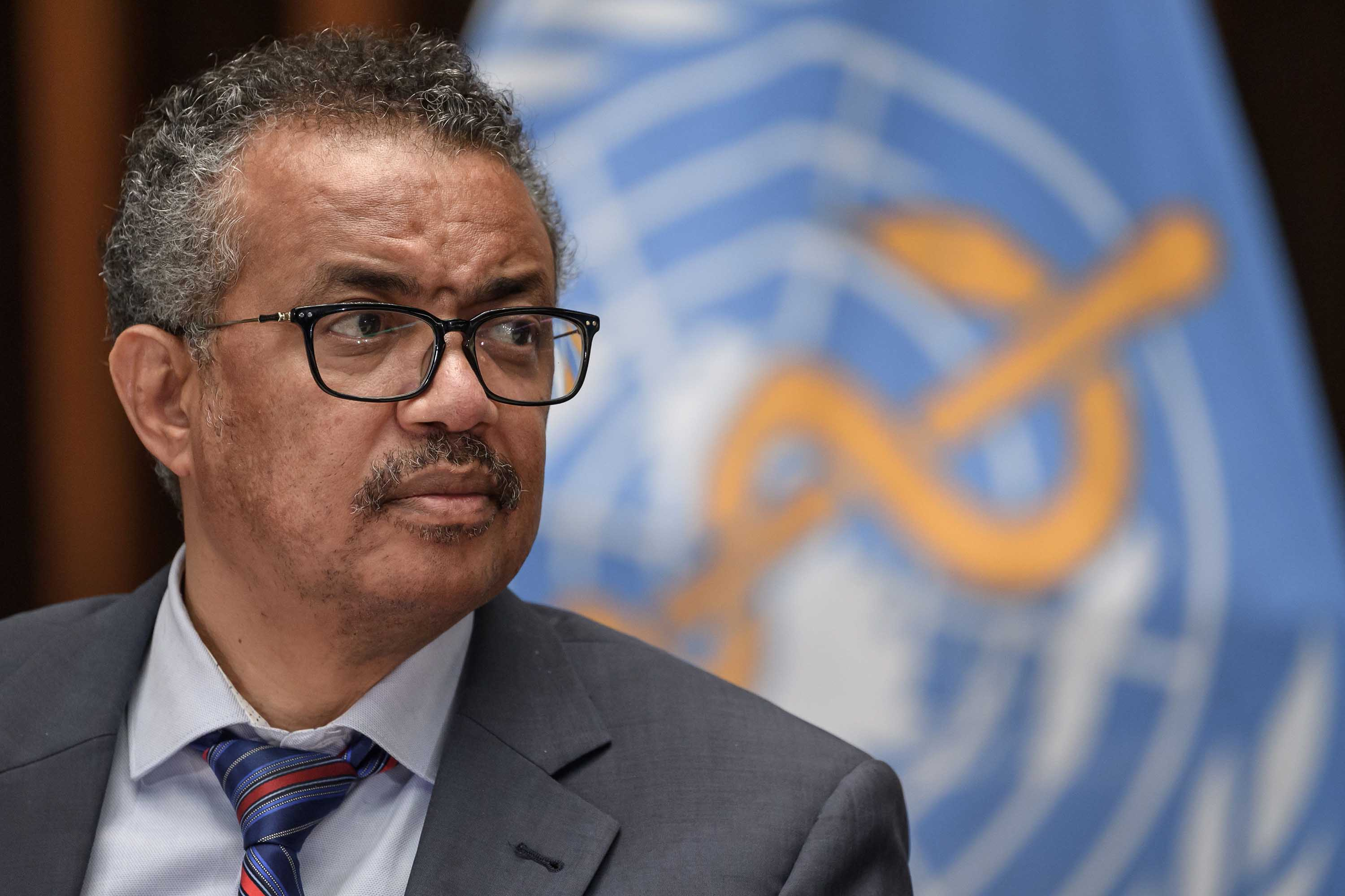 World Health Organization (WHO) Director-General Tedros Adhanom Ghebreyesus is pictured at a press conference in Geneva, Switzerland, in July 2020.