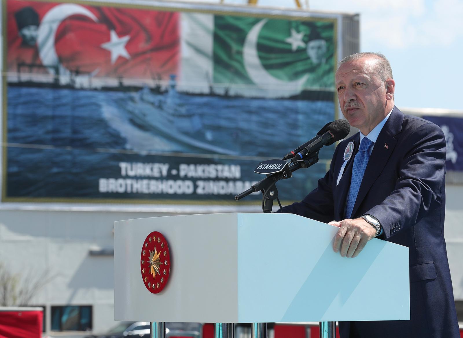 Turkey's President Recep Tayyip Erdogan speaks during a naval ceremony, in Istanbul, Turkey, on August 15.