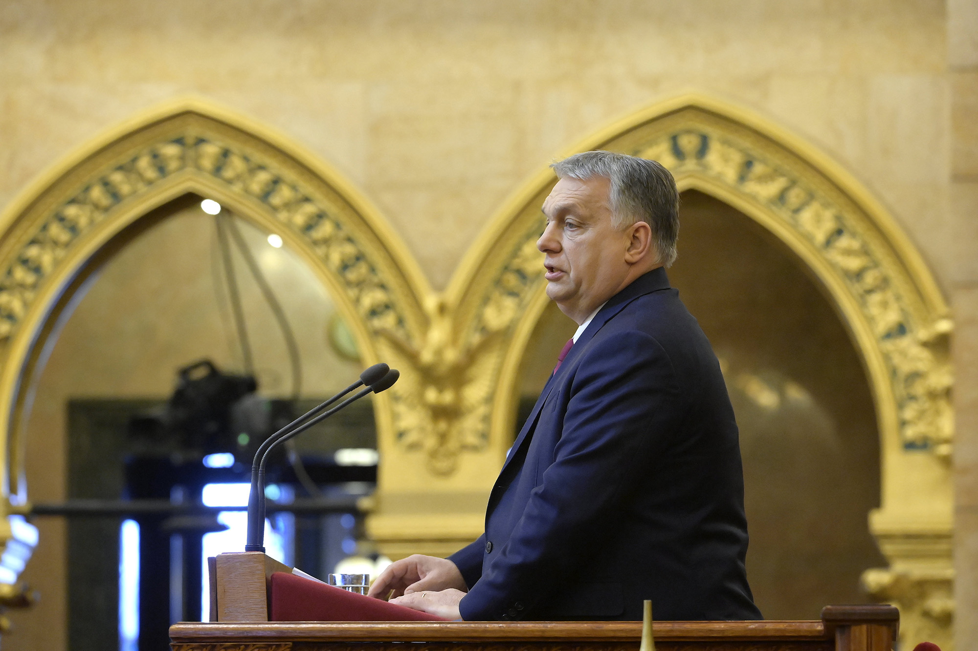 Hungarian Prime Minister Viktor Orban gives a speech in the country's parliament on February 15, 2021.