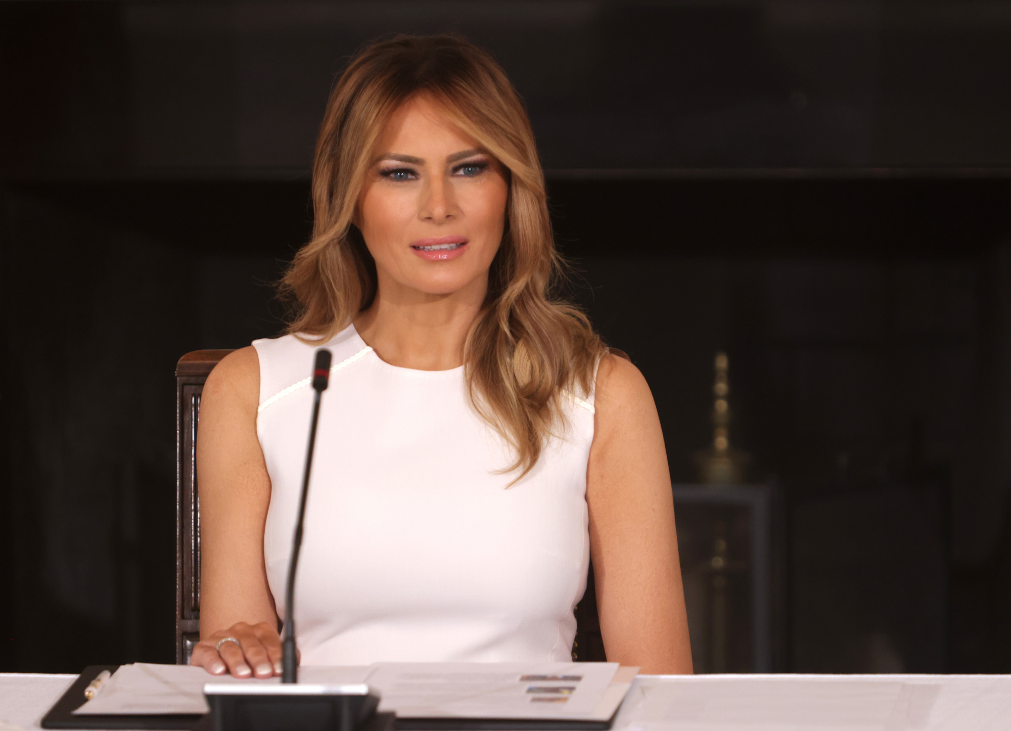 First Lady Melania Trump speaks during a roundtable on sickle cell disease in the State Dining Room of the White House on September 14 in Washington, DC.