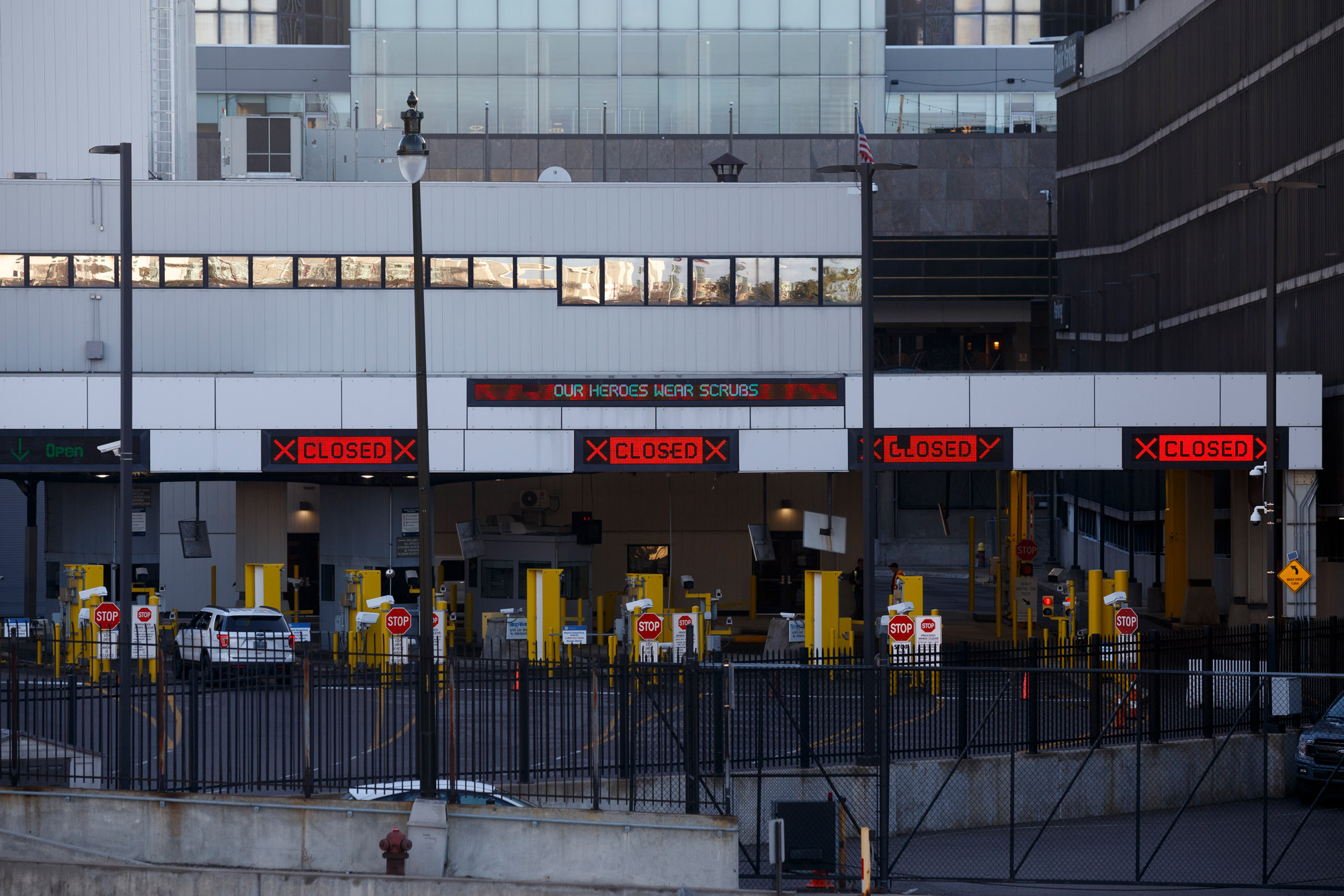 A view of the U.S.-Canada border crossing is seen on April 8 from Detroit.