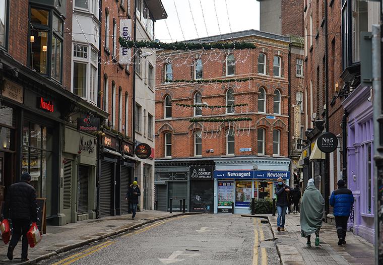 An empty street in Dublin city center on Monday, January 4, 2021, in Dublin, Ireland.