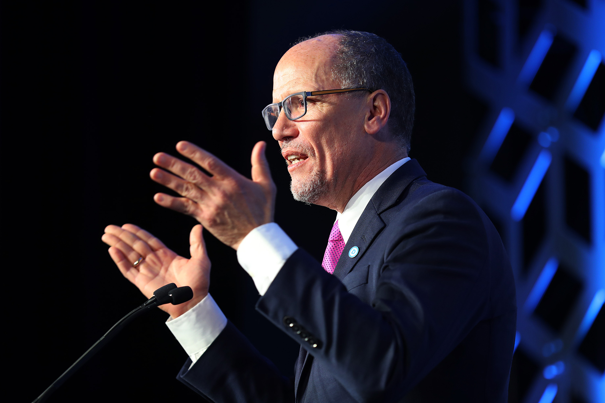Tom Perez, Democratic National Committee chairman, speaks during the Blue NC Celebration Dinner held at the Hilton Charlotte University Place on February 29 in Charlotte, North Carolina.