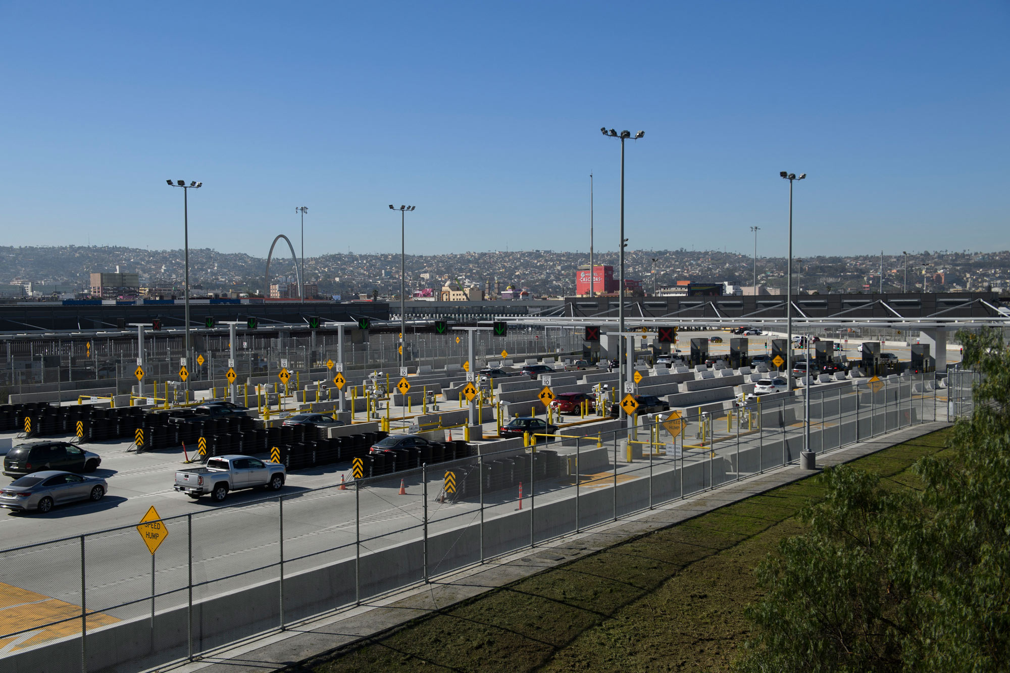 Vehicles enter a border checkpoint at the US Customs and Border Protection San Ysidro Port of Entry at the US Mexico border on February 19 in San Diego, California.