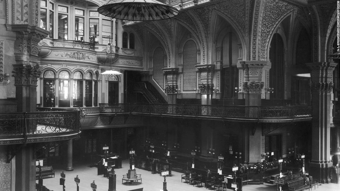 Interior view of the Old Stock Exchange on Wall Street in New York City, circa 1893 — just three years before the Dow launched.