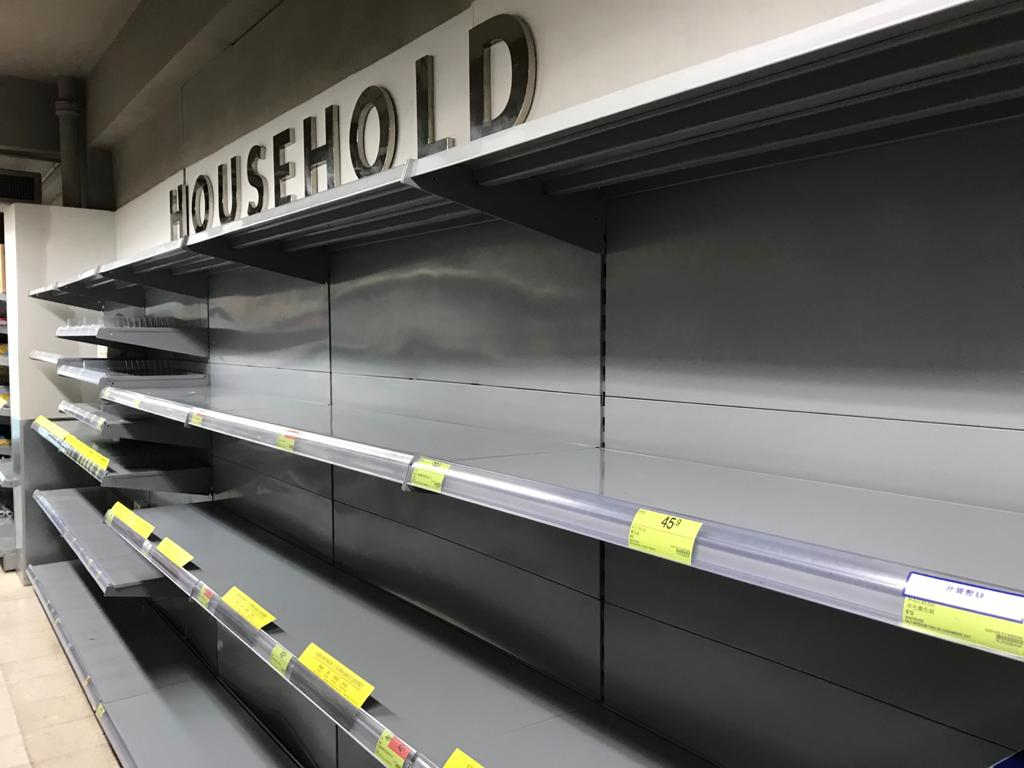 Some grocery stores were still out of stock of paper towels and toilet paper on Saturday.