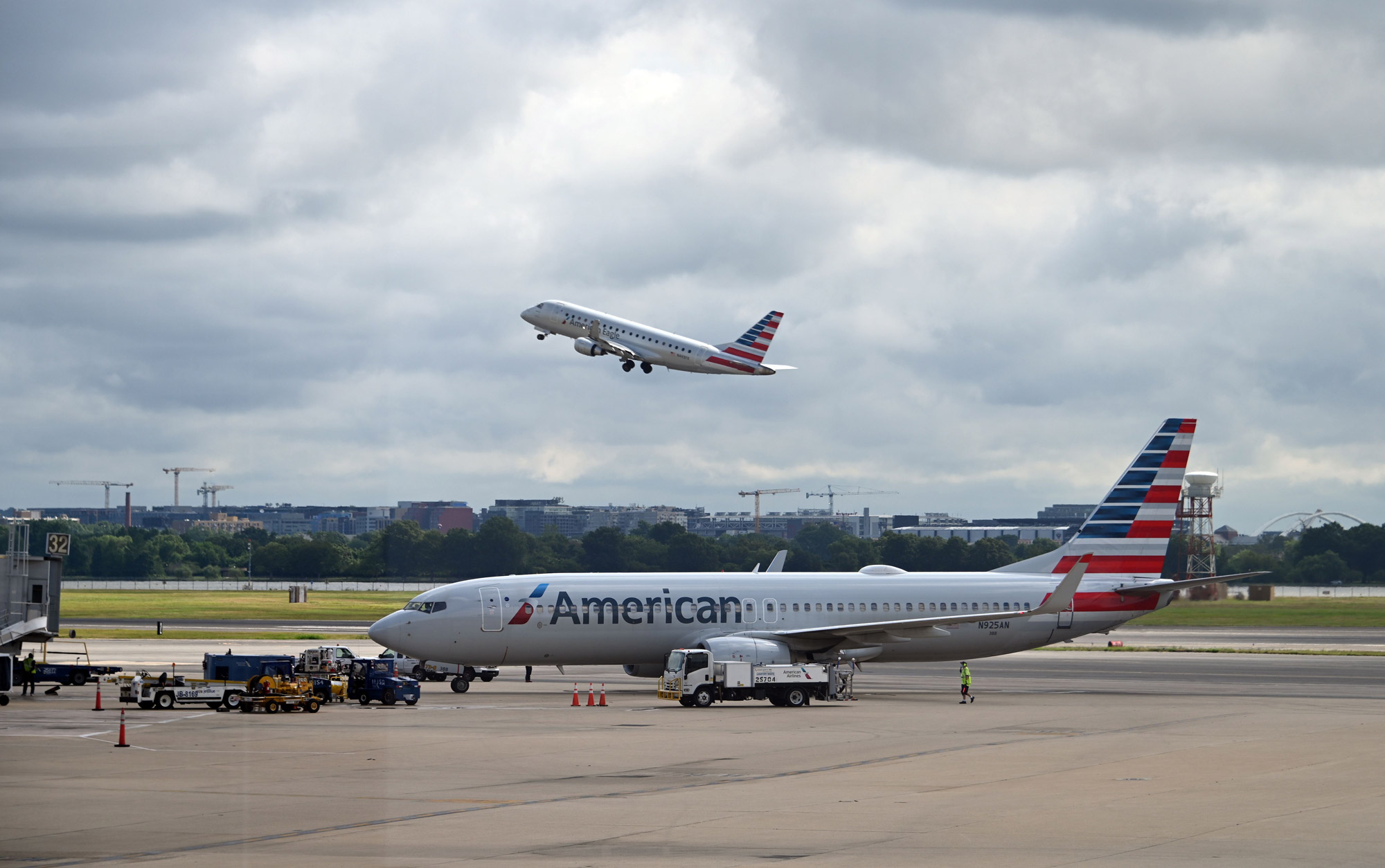 An American Airlines plane approaches a gate at Ronald Reagan Washington National Airport on July 10 in Arlington, Virginia.