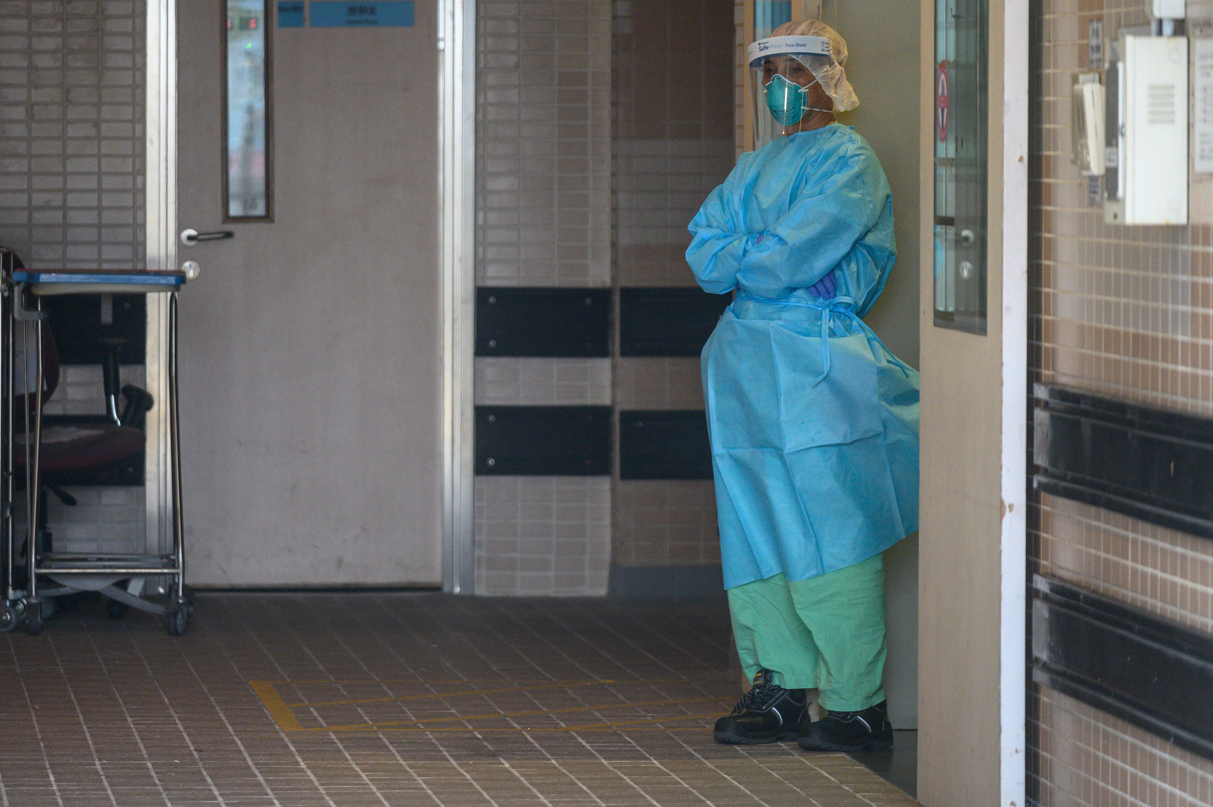 A medical staff member at the Princess Margaret Hospital in Hong Kong on January 26, 2020.