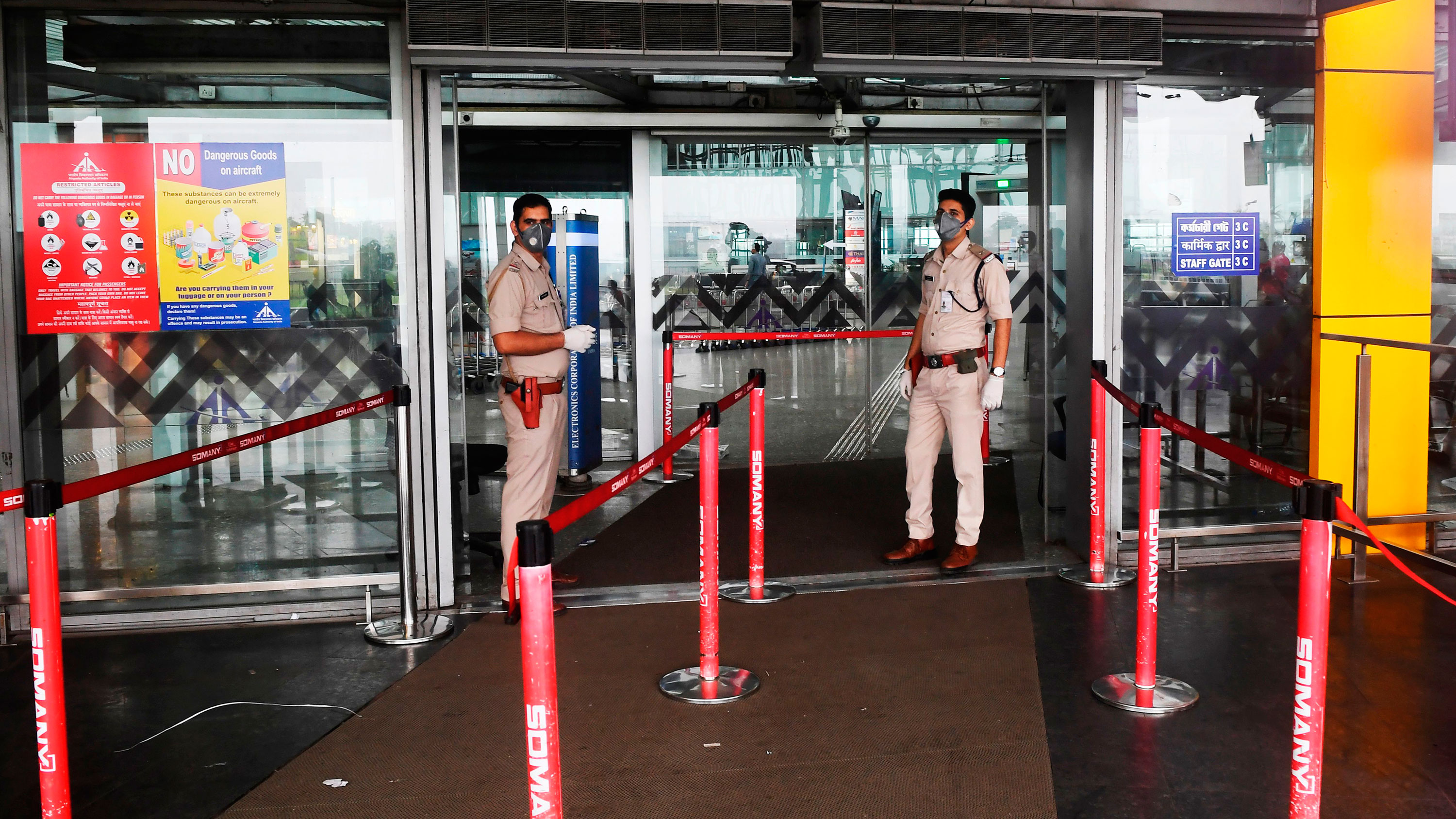 India's Central Industrial Security Force personnel stand at the entrance of Netaji Subhas Chandra Bose International Airport in Kolkata, India on March 7.