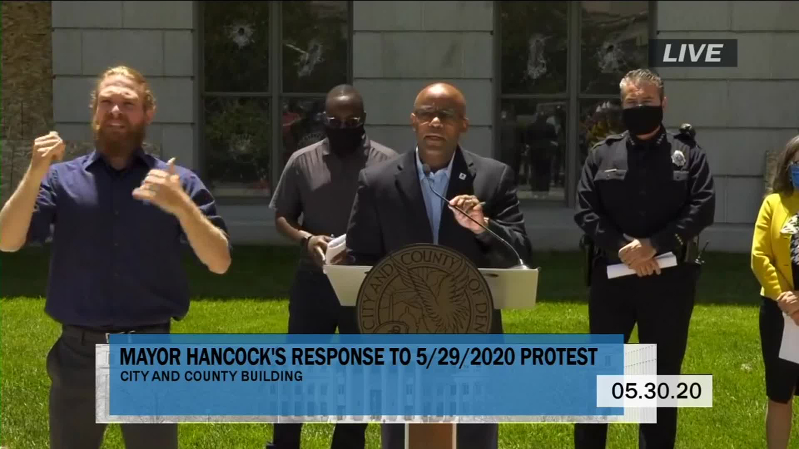 Denver Mayor Michael B. Hancock speaks at a news conference in Denver, on May 30.