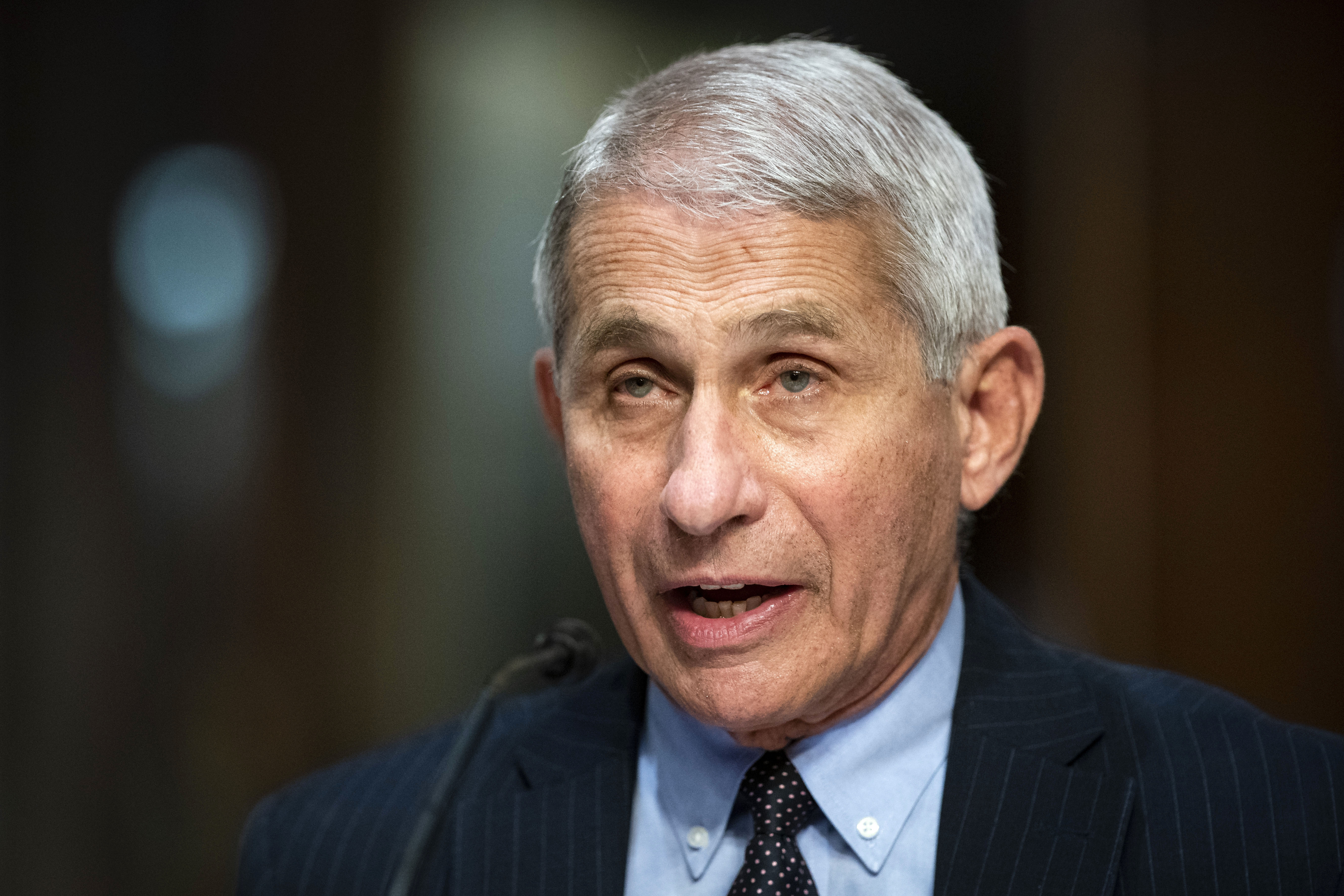Dr. Anthony Fauci, director of the National Institute of Allergy and Infectious Diseases, speaks during a hearing in Washington, DC, on June 30.