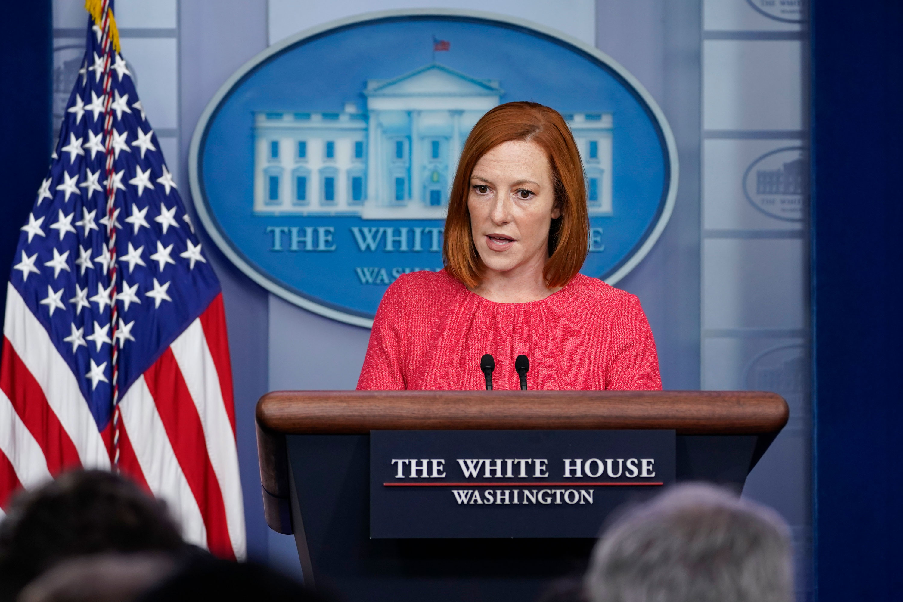 White House press secretary Jen Psaki speaks during the daily briefing at the White House in Washington, DC, on August 26.