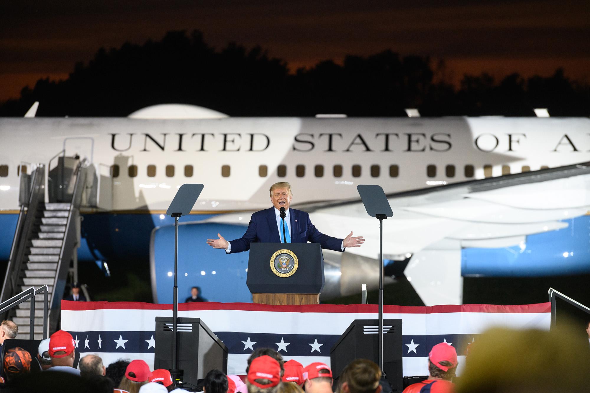 U.S. President Donald Trump speaks during a campaign rally in Latrobe, Pennsylvania, on Thursday, September 3.