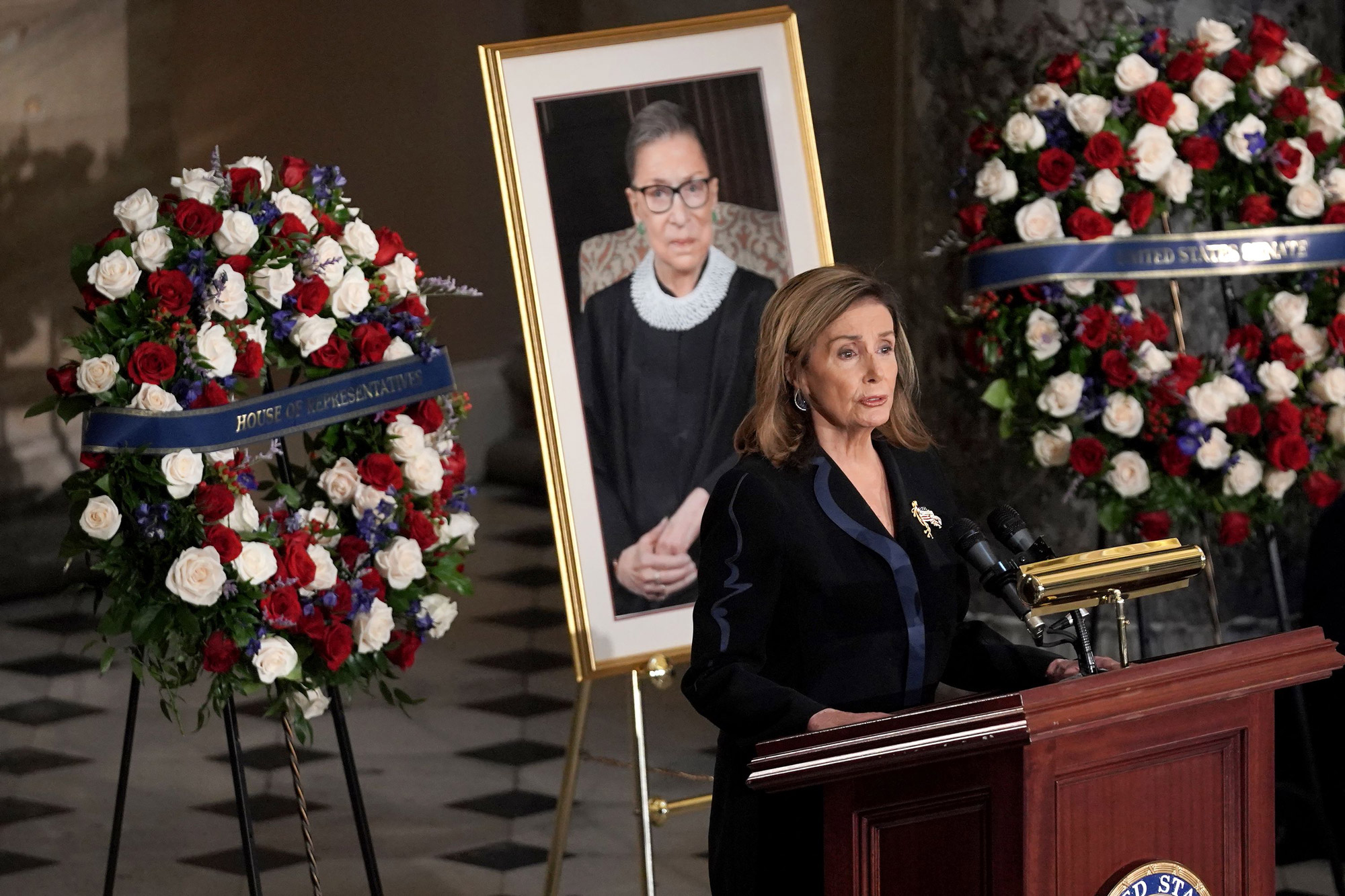 House Speaker Nancy Pelosi speaks during a ceremony to honor the late Justice Ruth Bader Ginsburg as she lies in state at National Statuary Hallat the US Capitol in Washington, DC, on September 25.