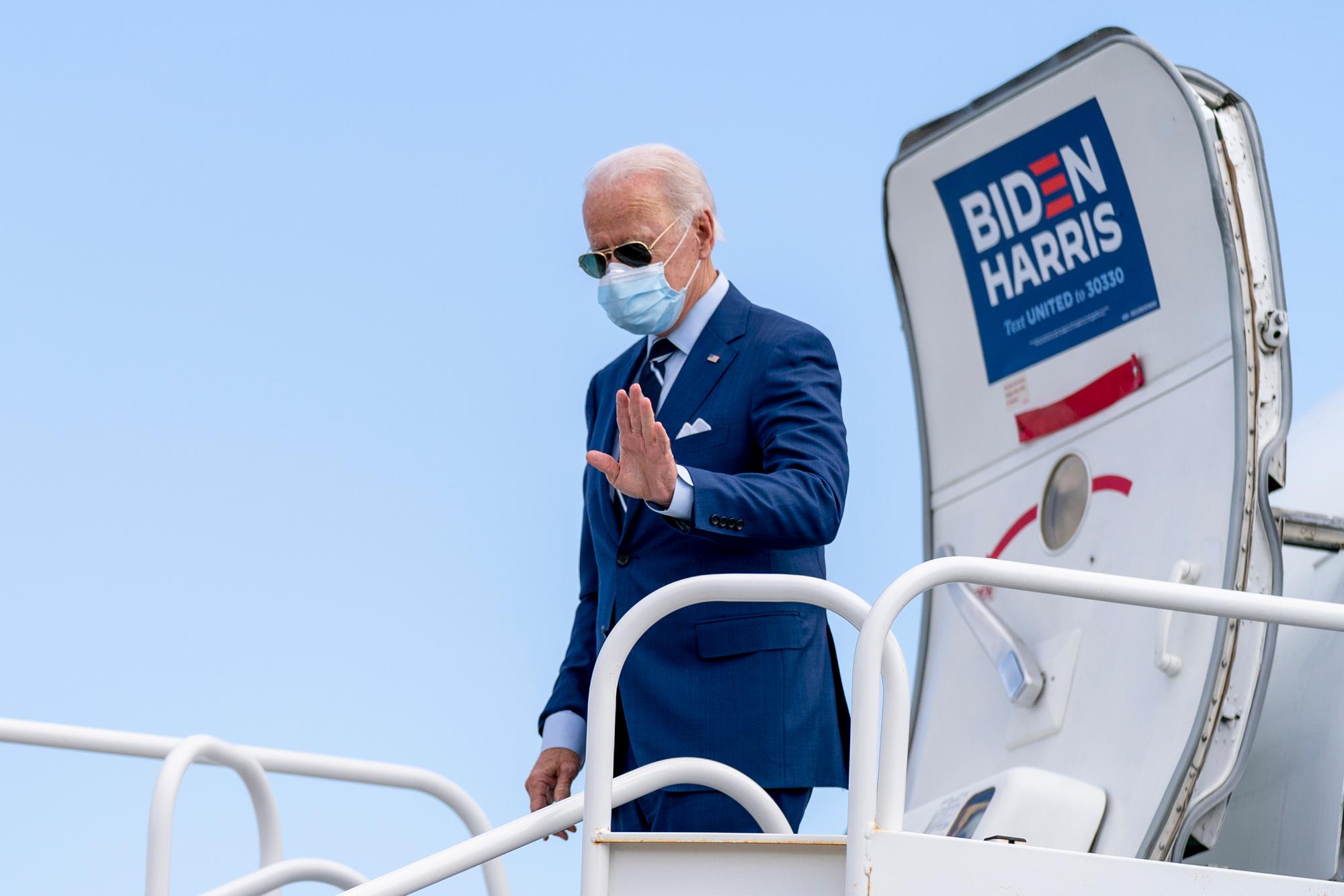 Democratic presidential candidate Joe Biden arrives at Fort Lauderdale-Hollywood International Airport in Fort Lauderdale, Florida, on October 29.