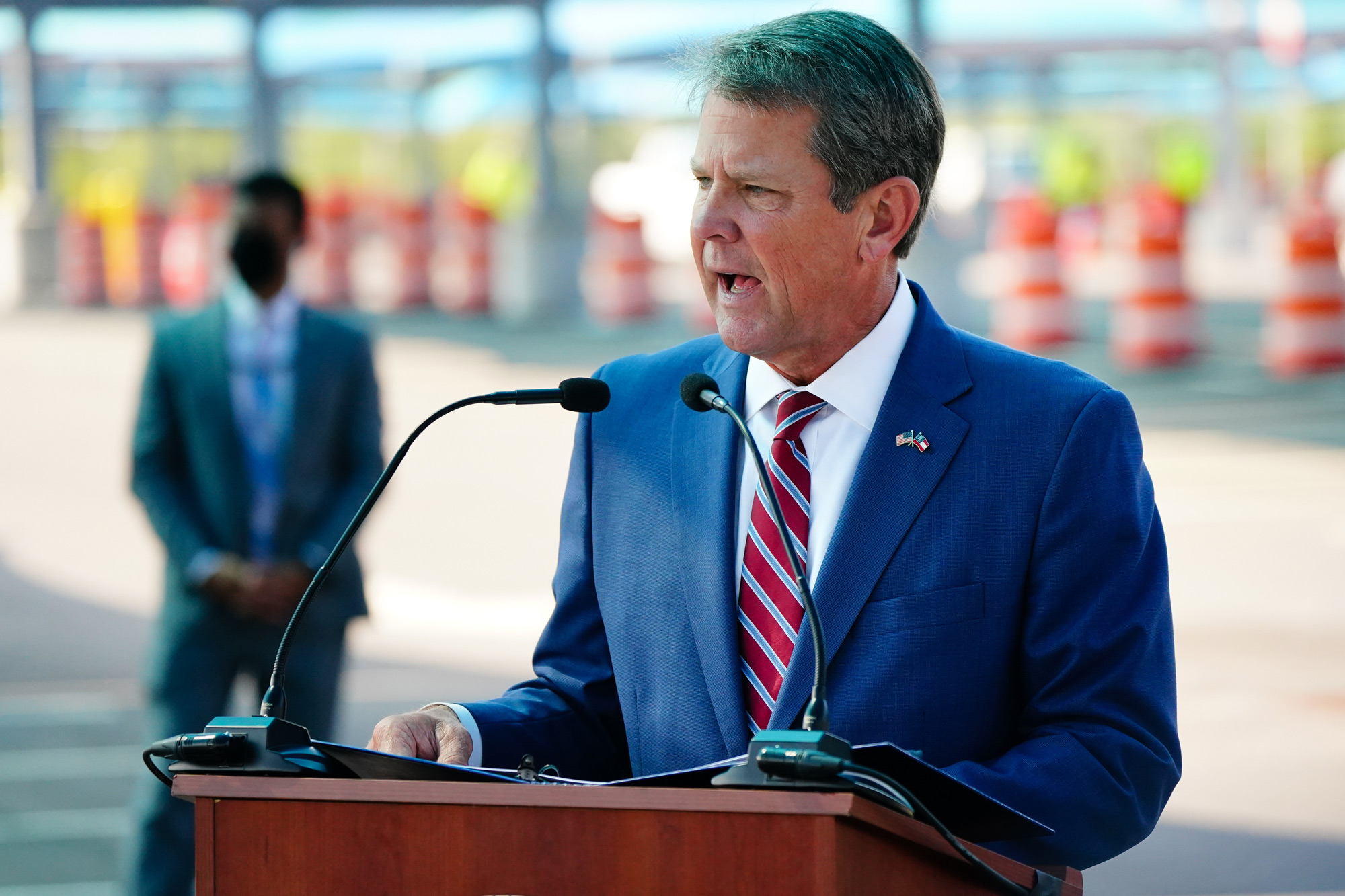 Georgia Governor Brian Kemp speaks at a press conference on August 10 in Atlanta.